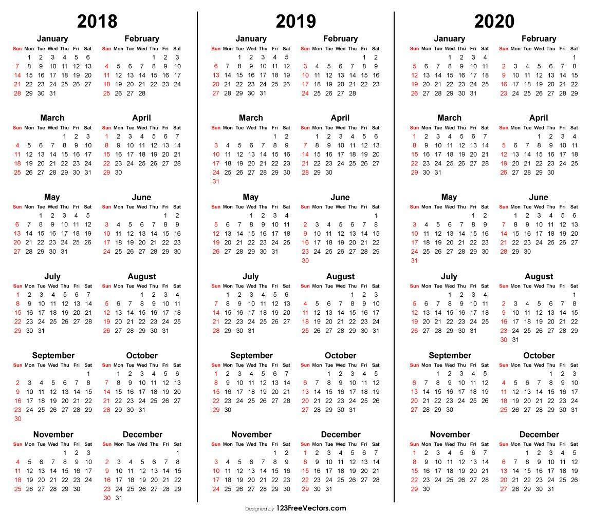 4 Year Calendar 2019 To 2022 Printable   Calendar Printable Free
