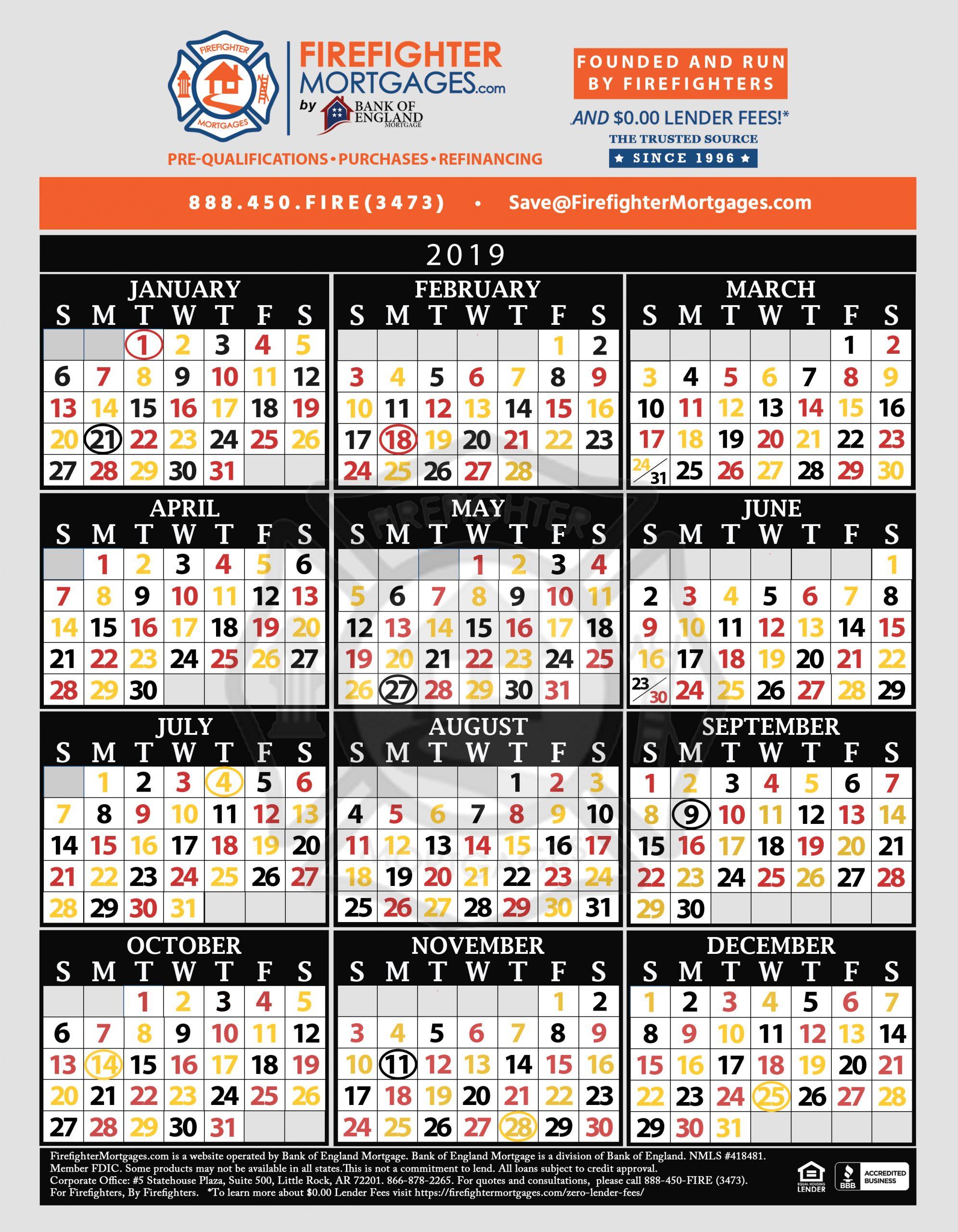 48 96 Fire Schedule Calendar - Togo.wpart.co