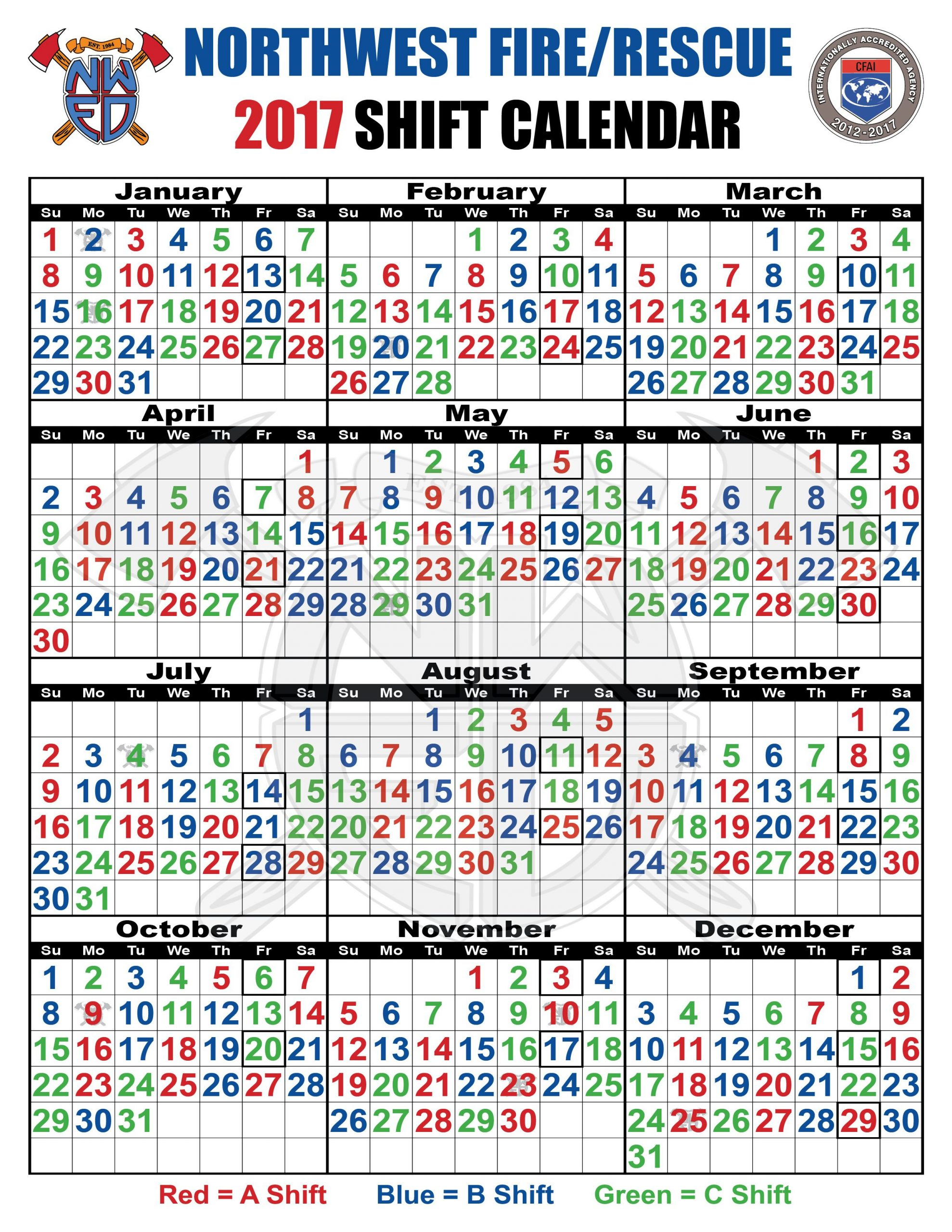 48 96 Fire Schedule Calendar - Togo.wpart.co