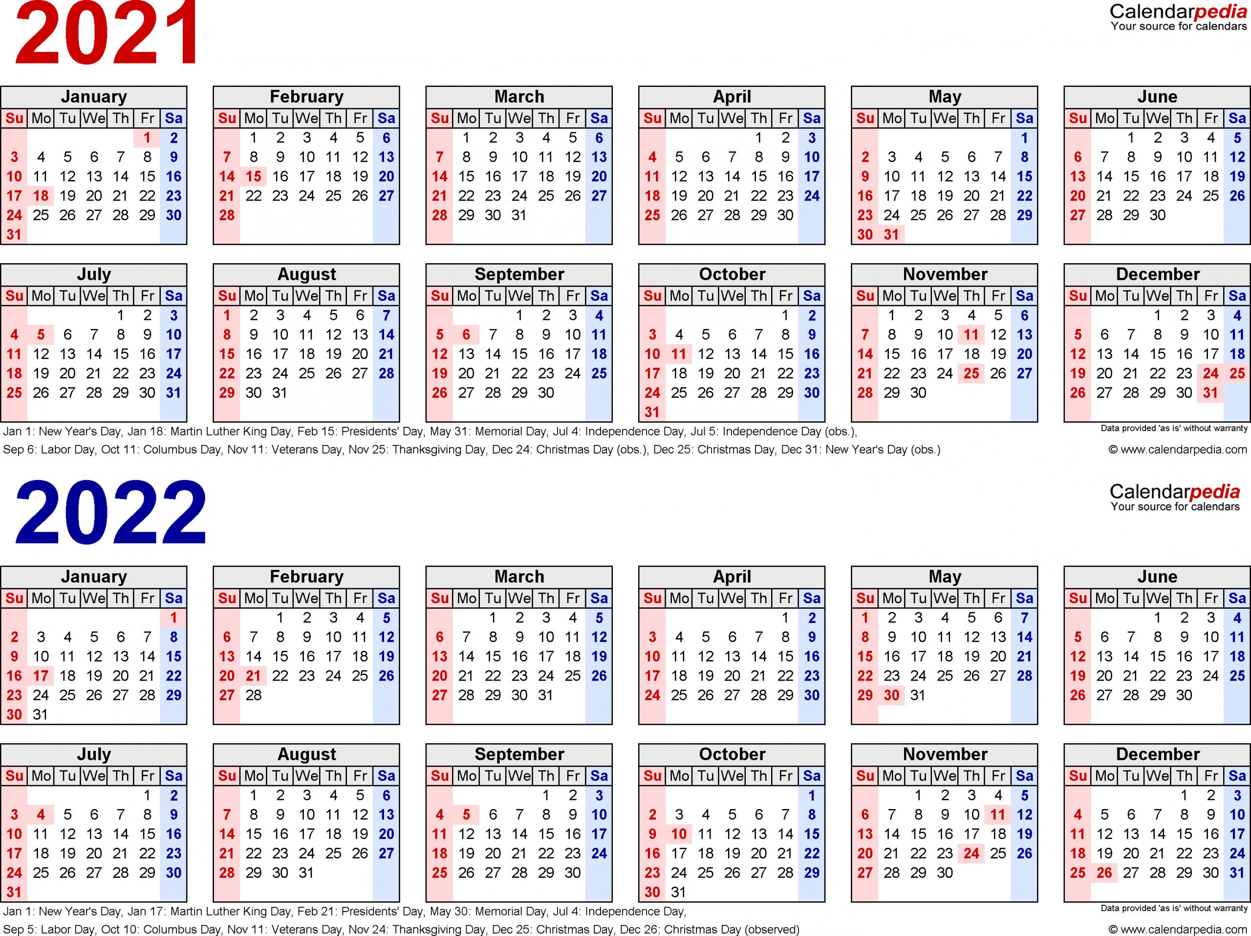 5 Year Calendar Printable - Togo.wpart.co