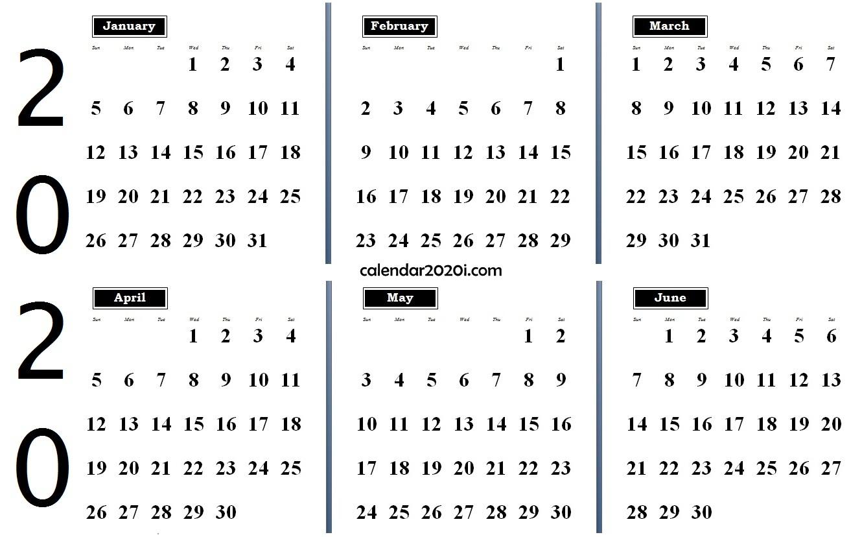 6 Months 2020 Half Year Printable Calendar | Calendar 2020
