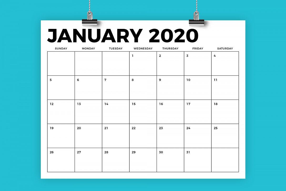 8.5 X 11 Inch Bold 2020 Calendar