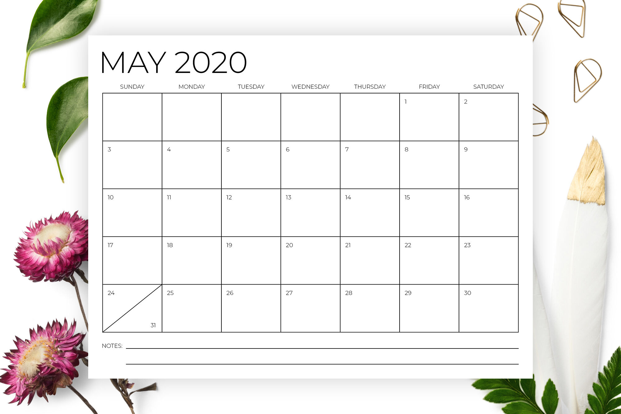 8.5 X 11 Inch Minimal 2020 Calendar By Running With Foxes