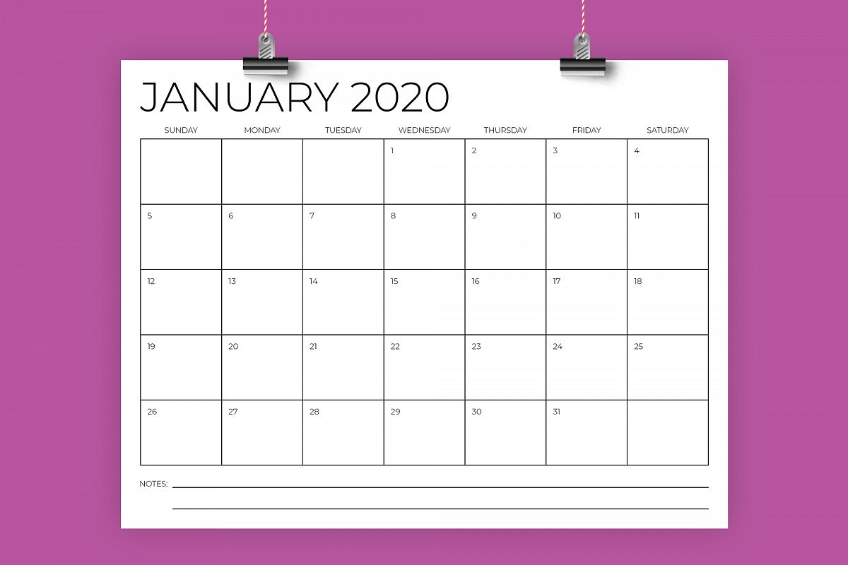 8.5 X 11 Inch Minimal 2020 Calendar