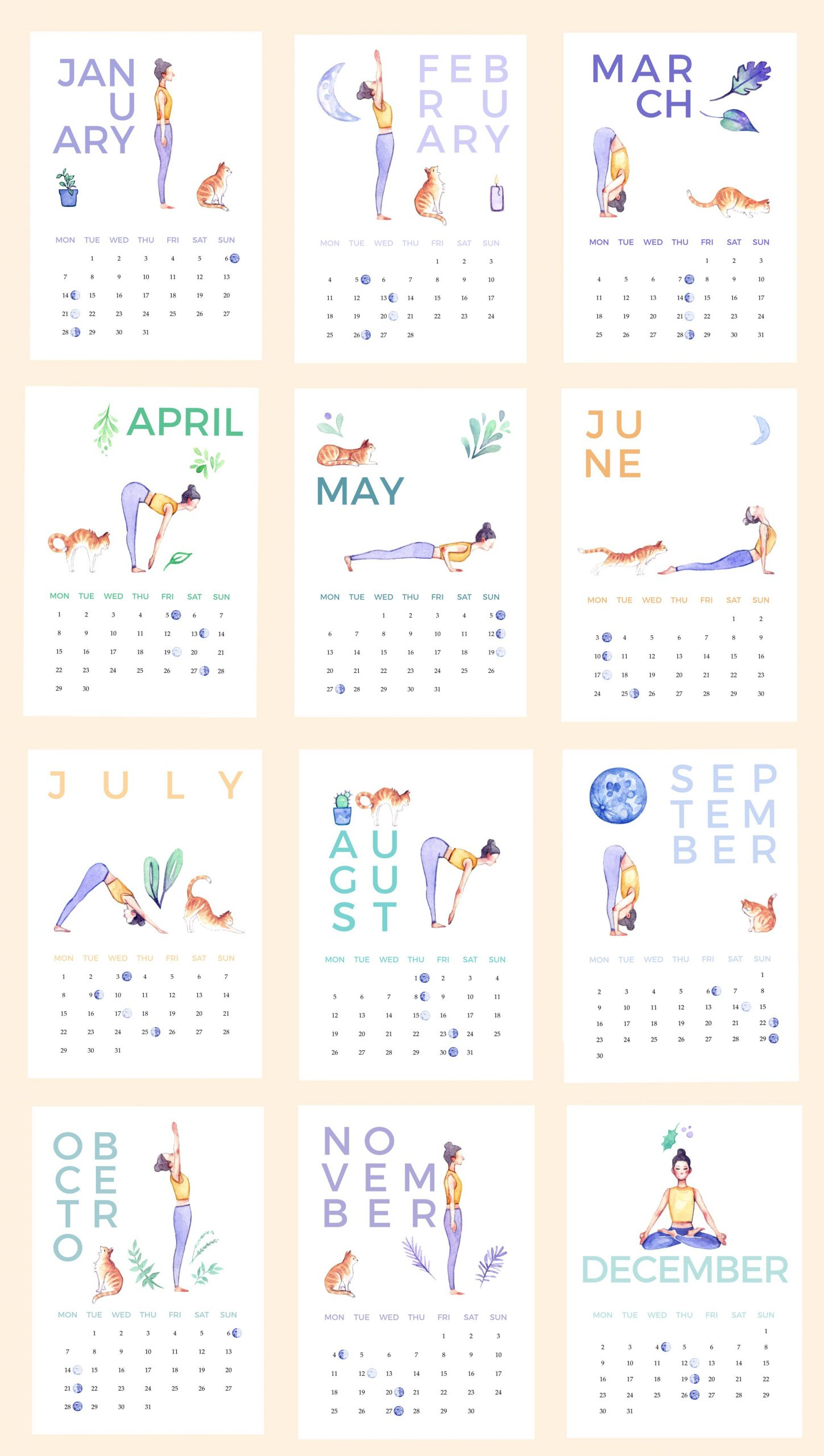 A Printable Illustrated Yoga Calendar For 2019 - With A Cat