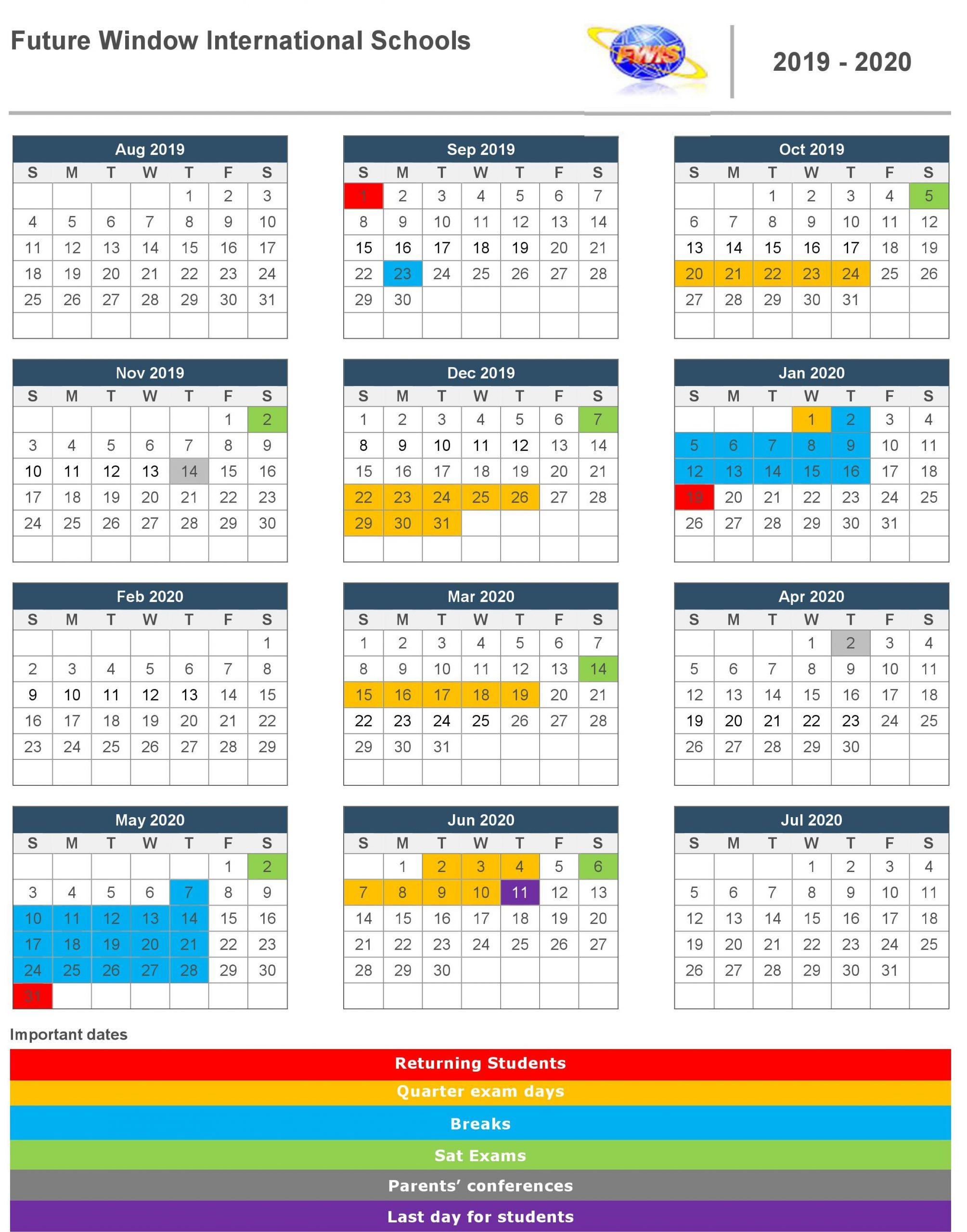 Academic Calendar 2019 – Future Window International School