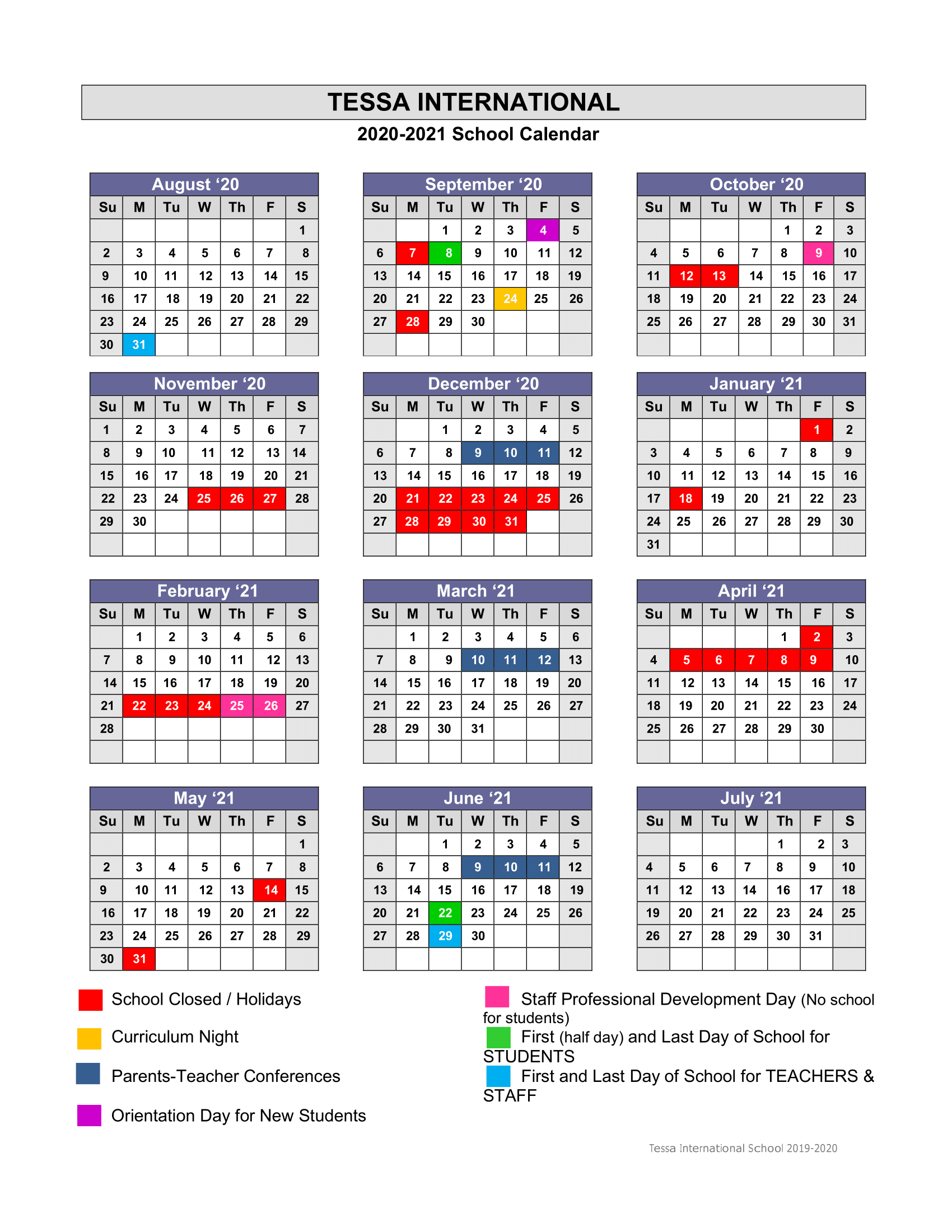 Academic Calendar 2020-2021 - Tessa International School