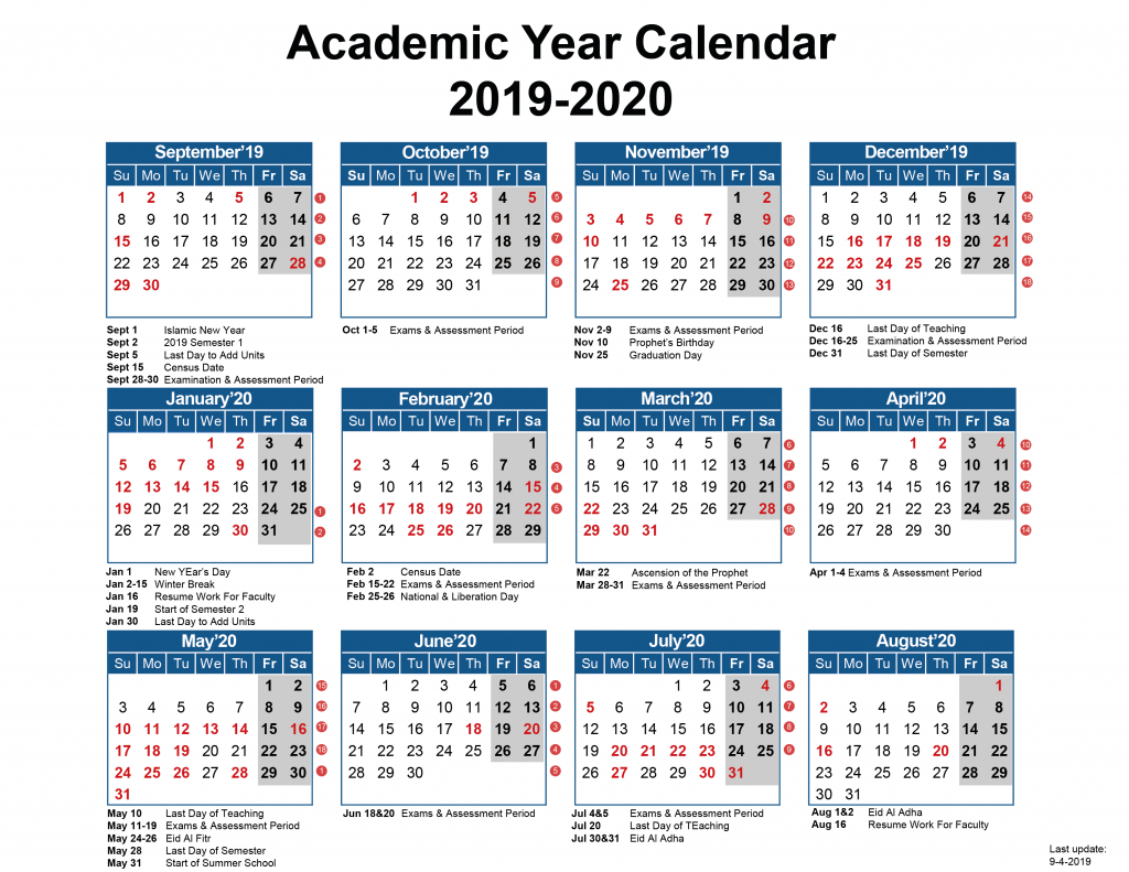 Academic Calendar – Australian College Of Kuwait