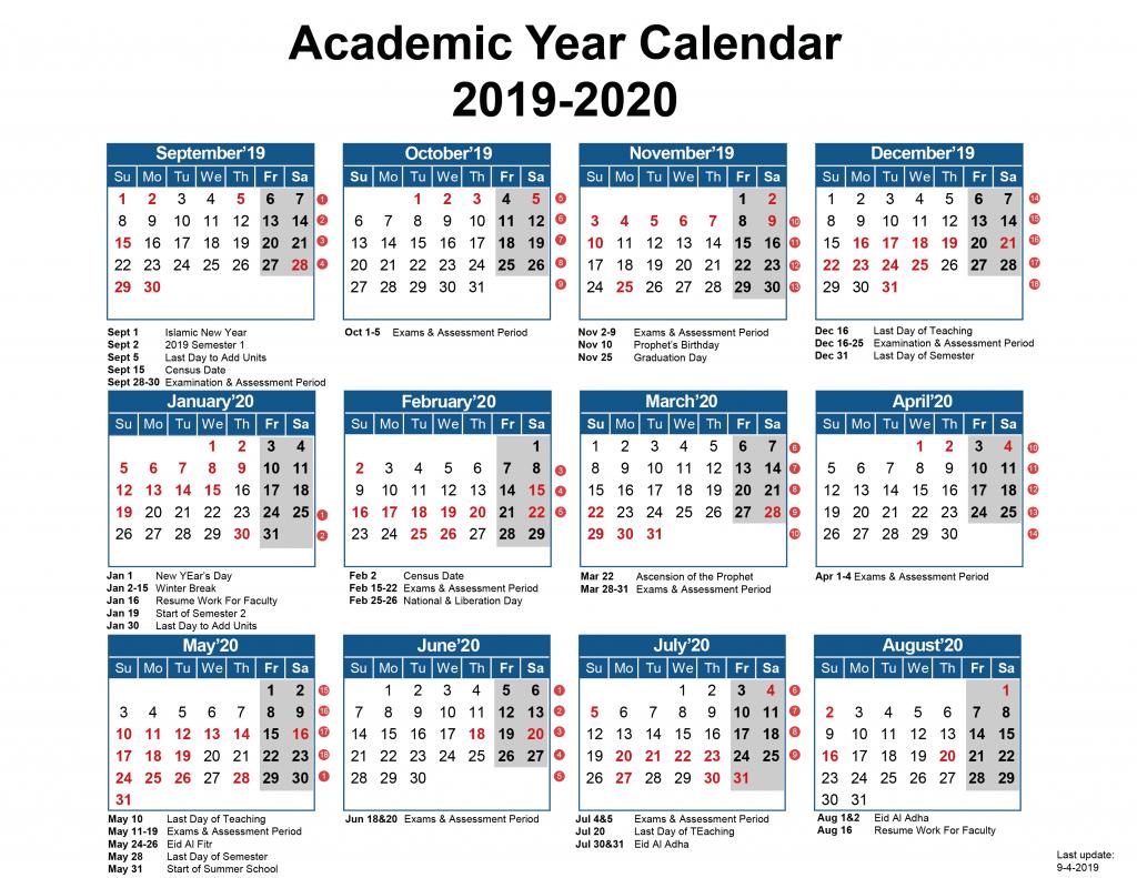 Academic Calendar – Australian College Of Kuwait