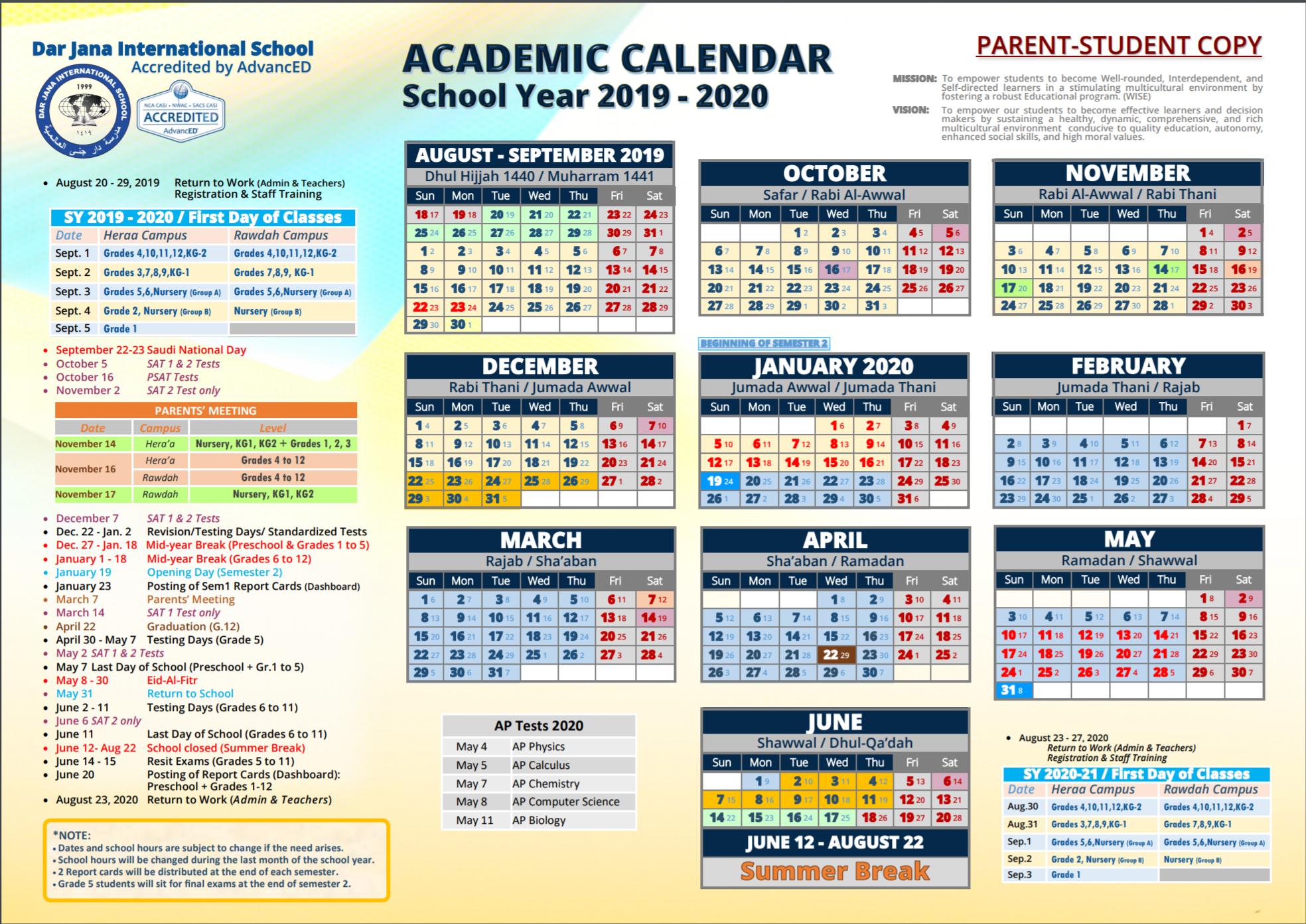 Academic Calendar – Dar Jana