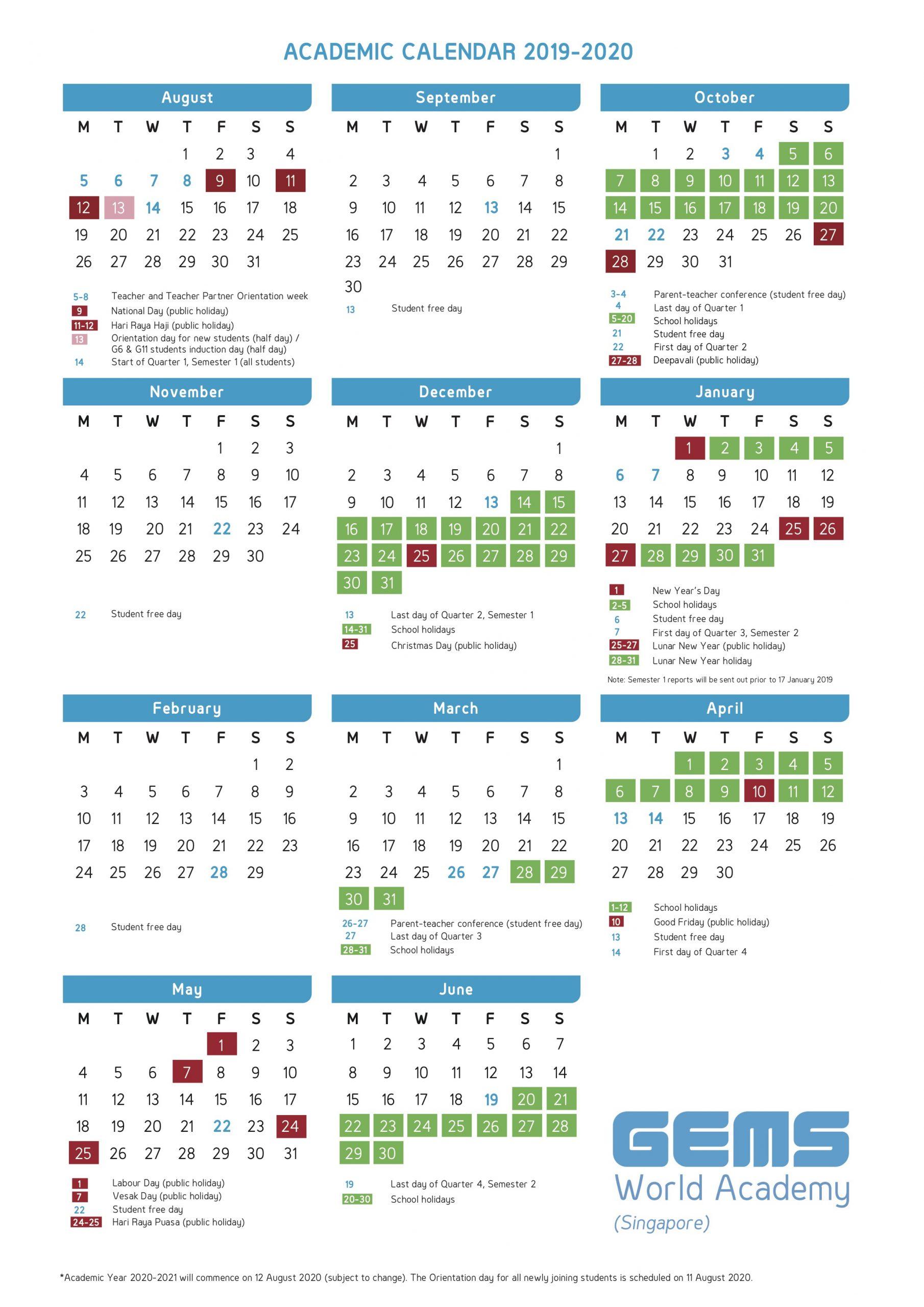 Academic Calendar | Gems World Academy (Singapore)
