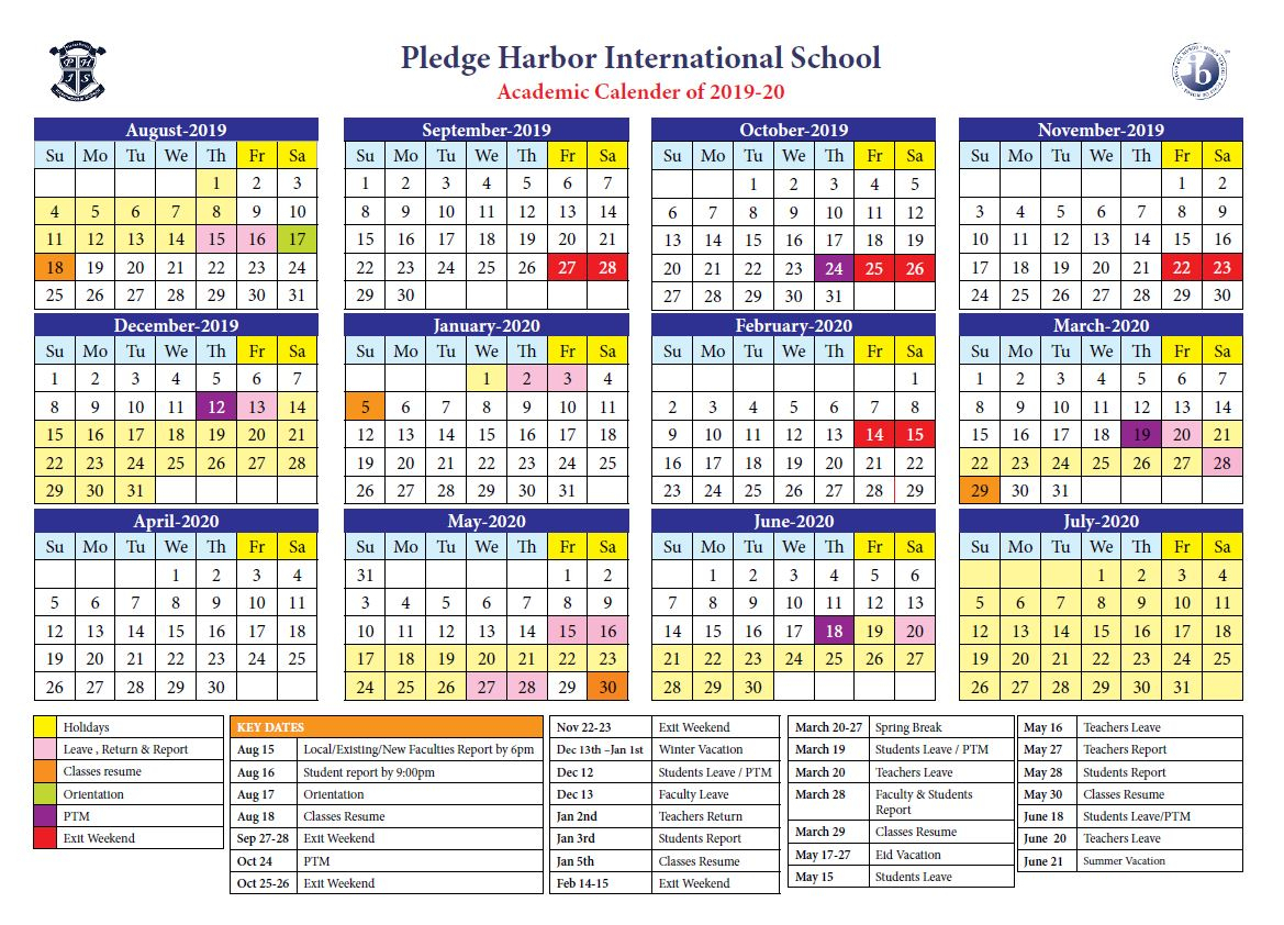 Academic Calendar – Pledge Harbor International School