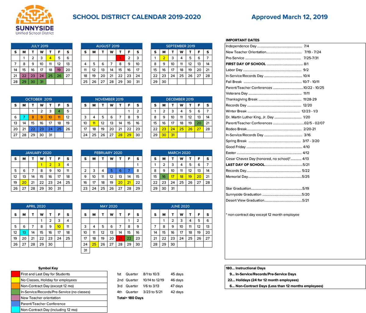 Academic Calendar   Sunnyside Unified School District