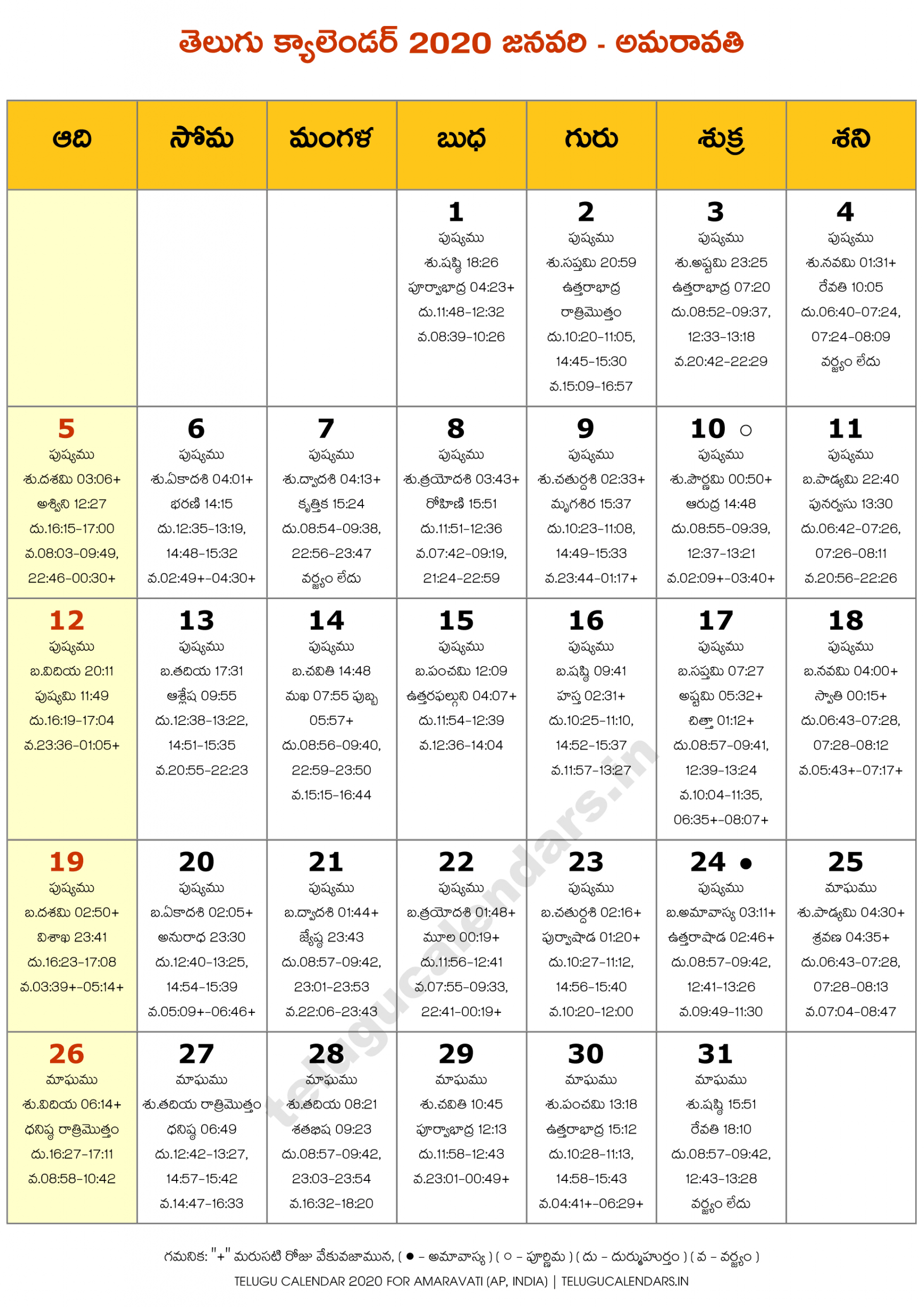 Amaravati 2020 January Telugu Calendar | Telugu Calendars