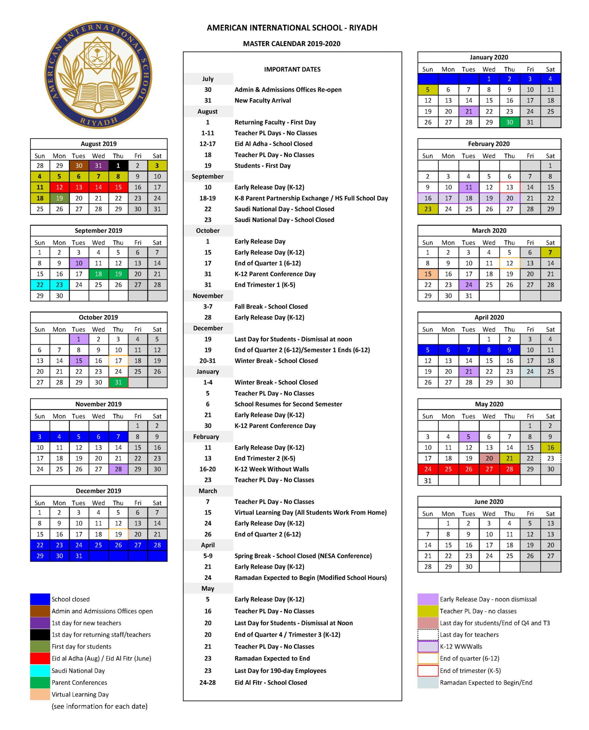 American International School, Riyadh: Calendar