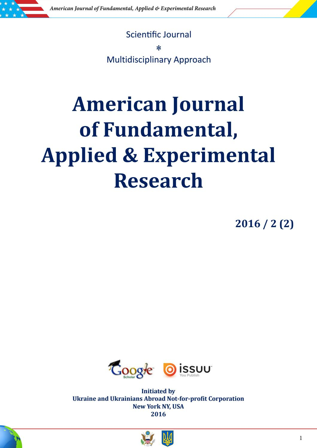 American Journal Of Fundamental, Applied & Experimental