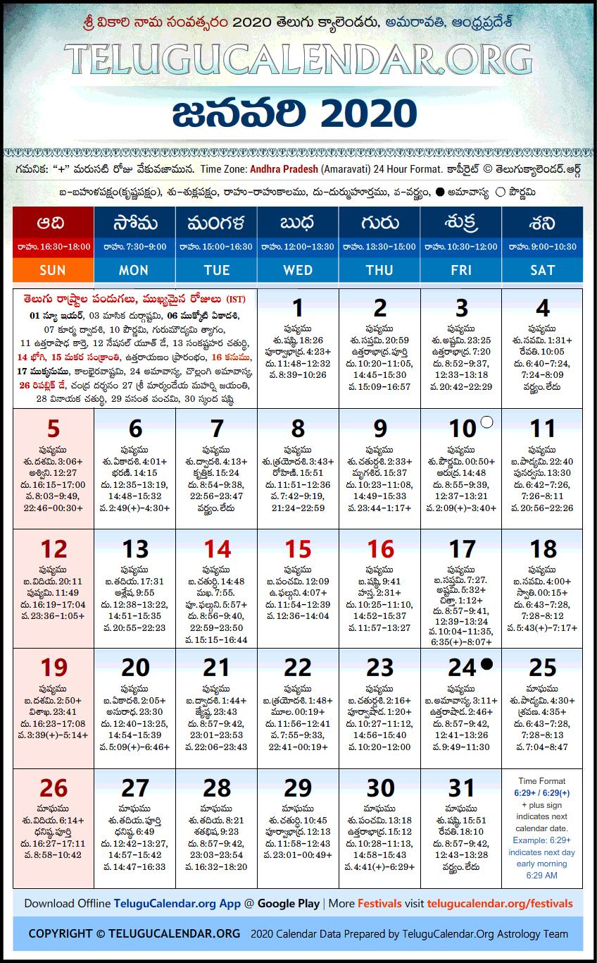 Andhra Pradesh | Telugu Calendars 2020 January Festivals Pdf