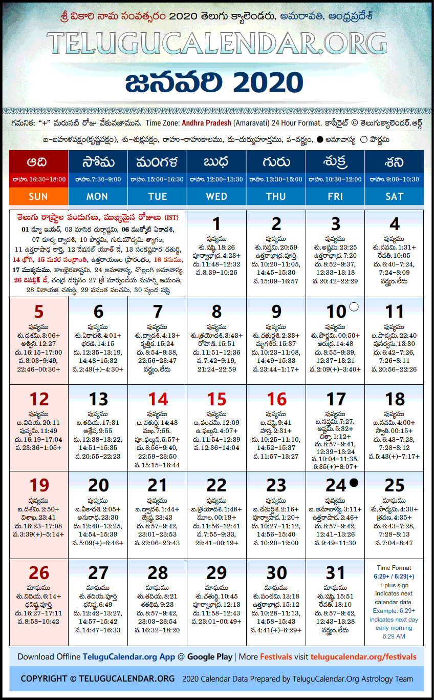 Andhra Pradesh | Telugu Calendars 2020 January Festivals Pdf