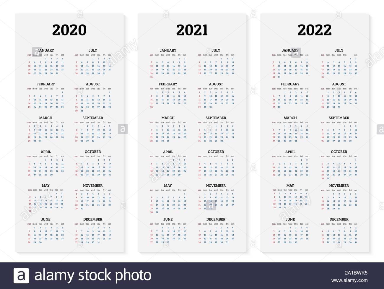 Annual Calendar 2020, 2021 And 2022 Template. Vector