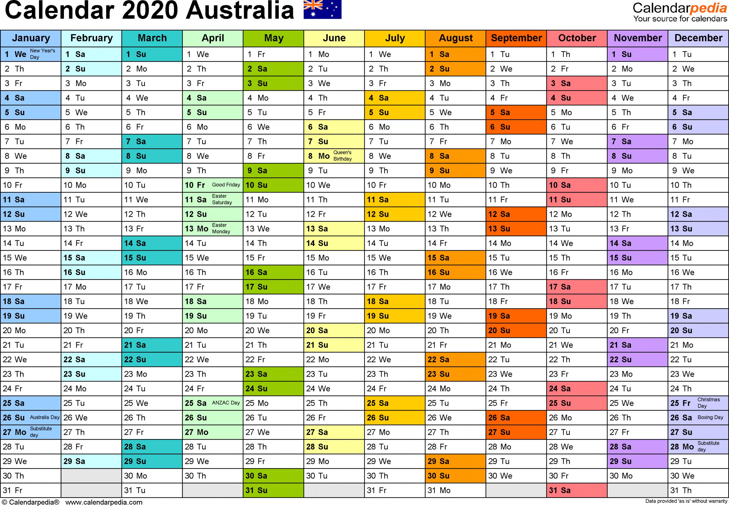 Annual Calendar 2020 Excel - Togo.wpart.co