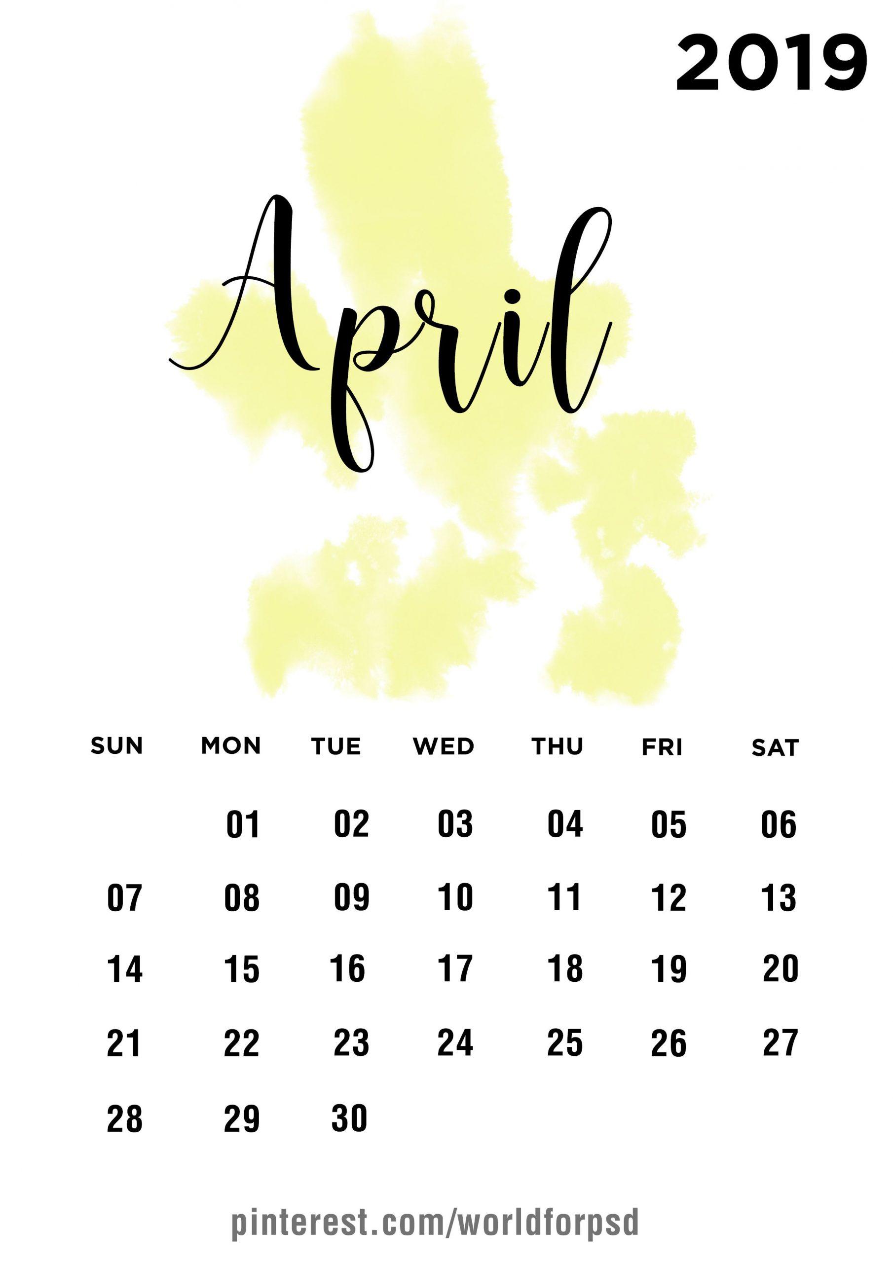 April 2019 Calendar Design #calendar #calendarideas #newyear