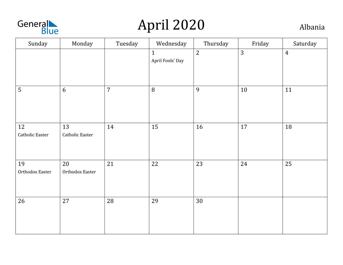 April 2020 Calendar - Albania