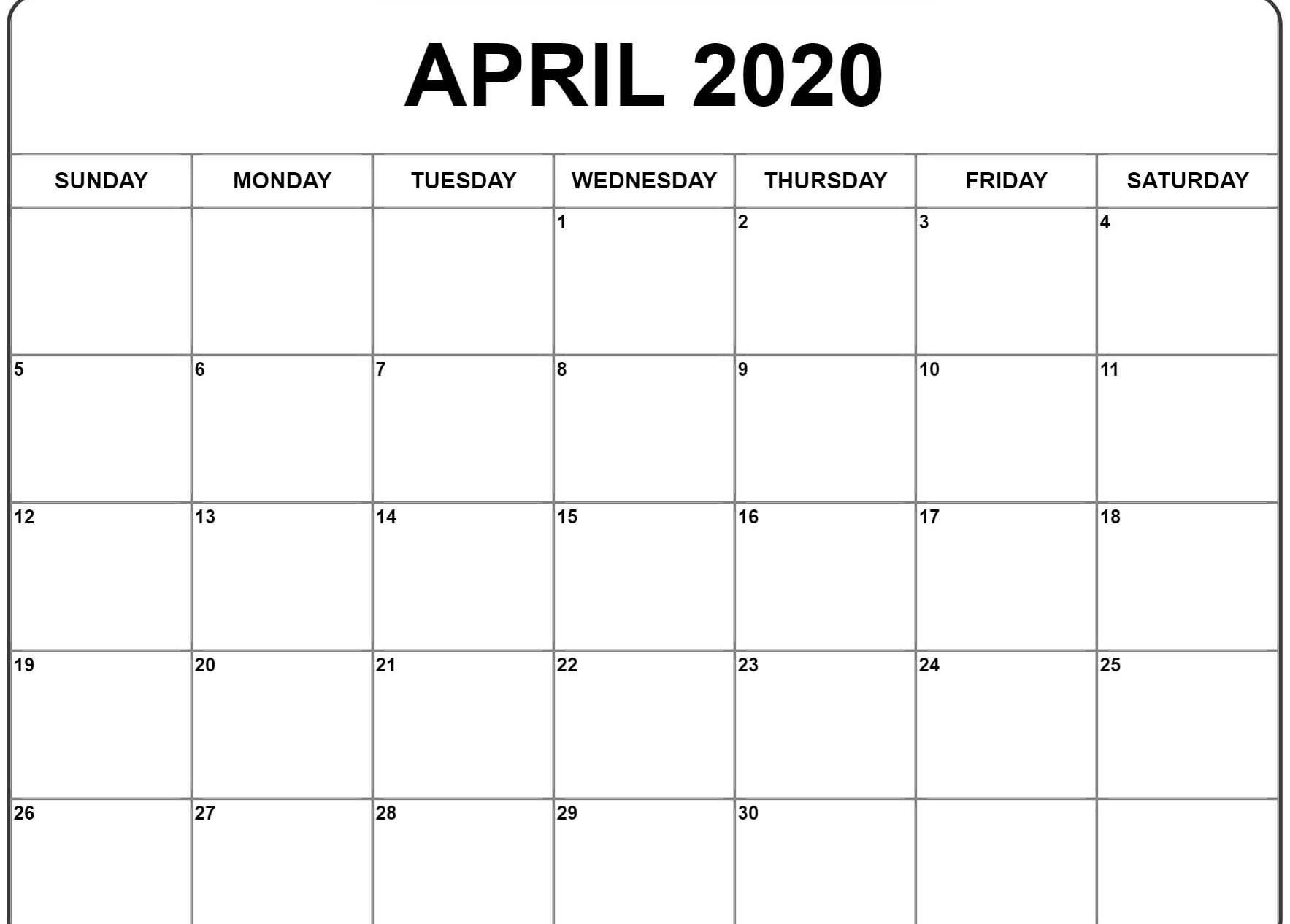 April 2020 Calendar Blank Template | July Calendar, Free