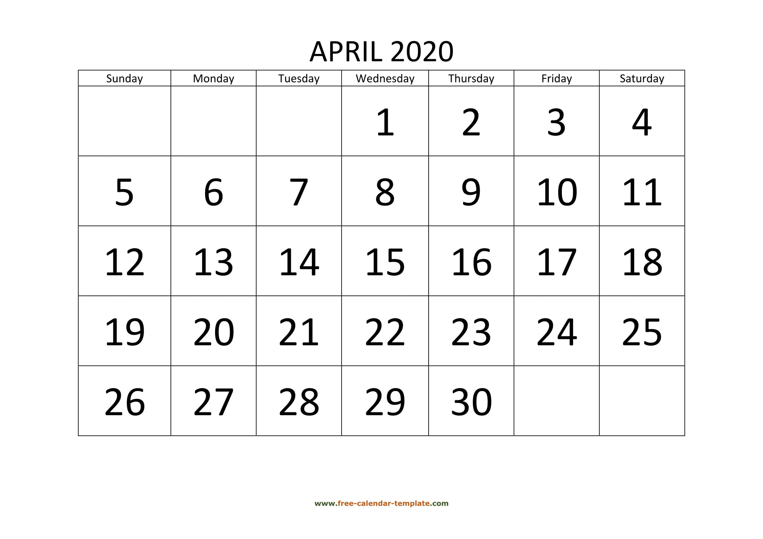 April 2020 Calendar Designed With Large Font (Horizontal
