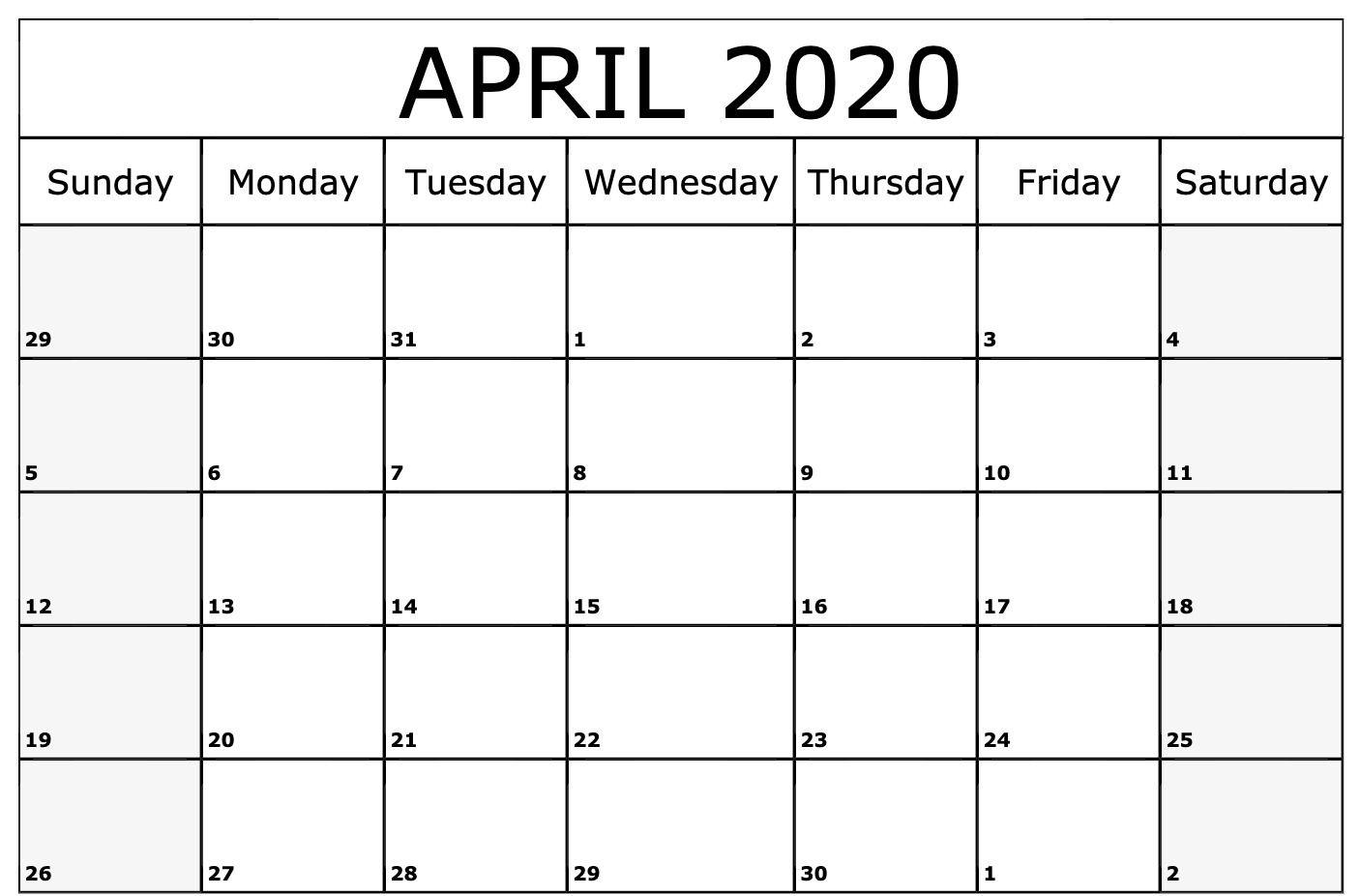 April 2020 Calendar Printable Template | Free Printable