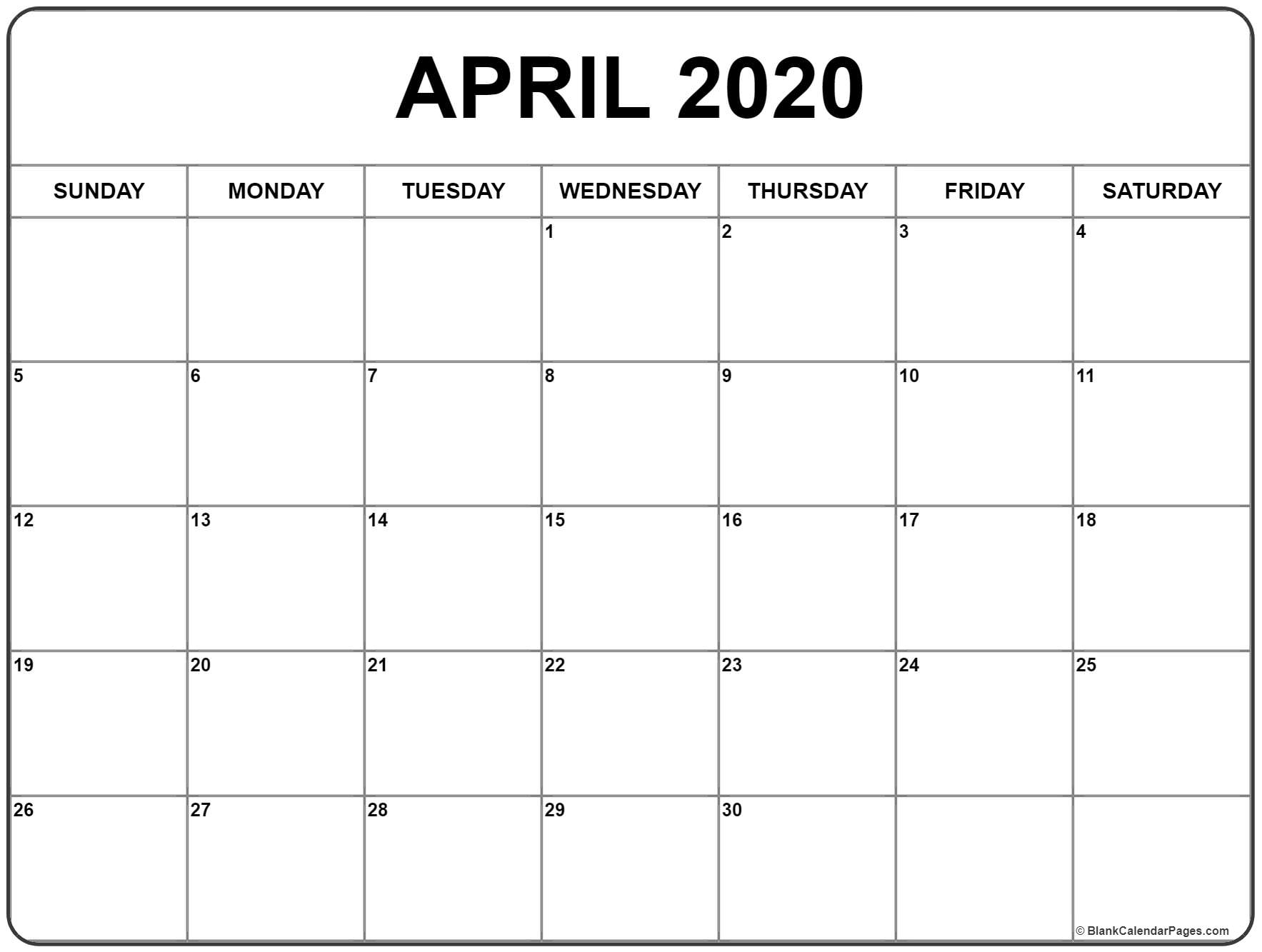 April 2020 Calendar Printable With Holidays - Wpa.wpart.co