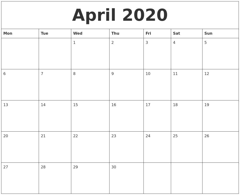 April 2020 Word Calendar - Togo.wpart.co