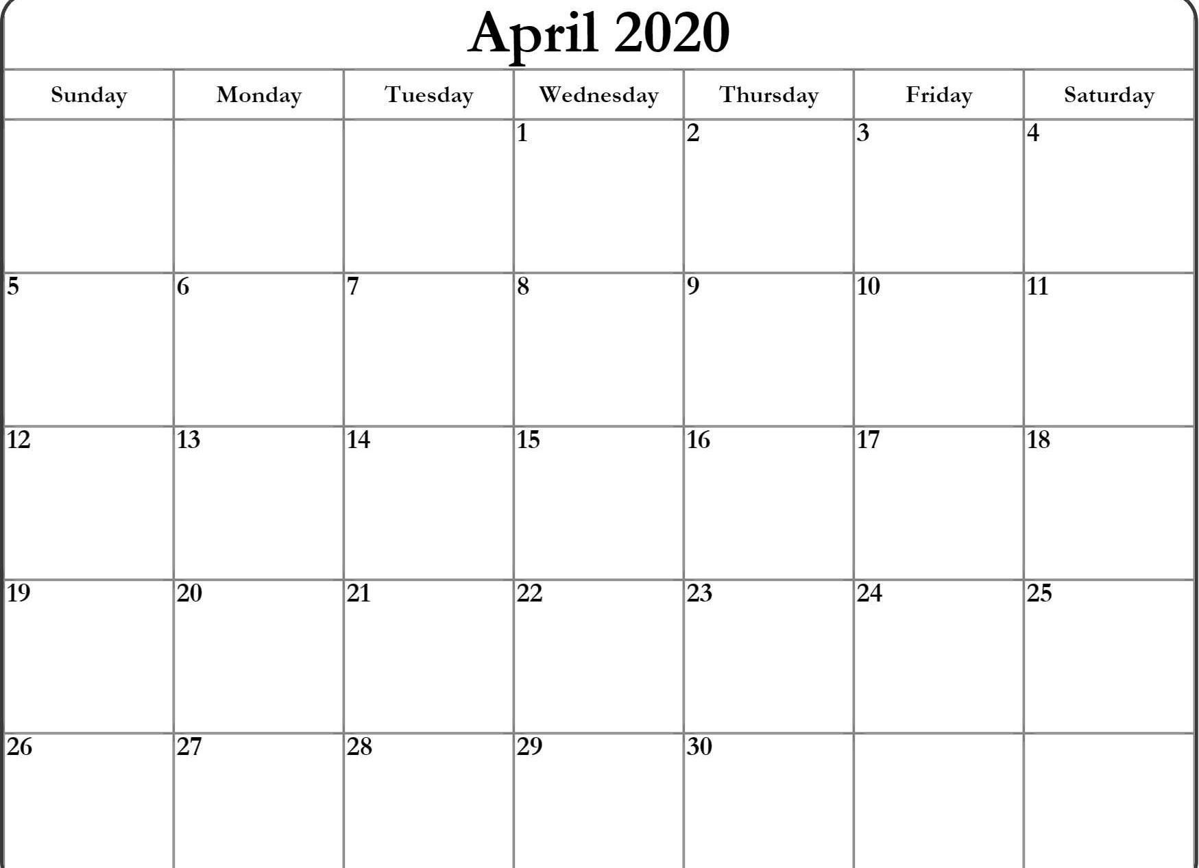 April Calendar 2020 | Free Printable Calendar Templates