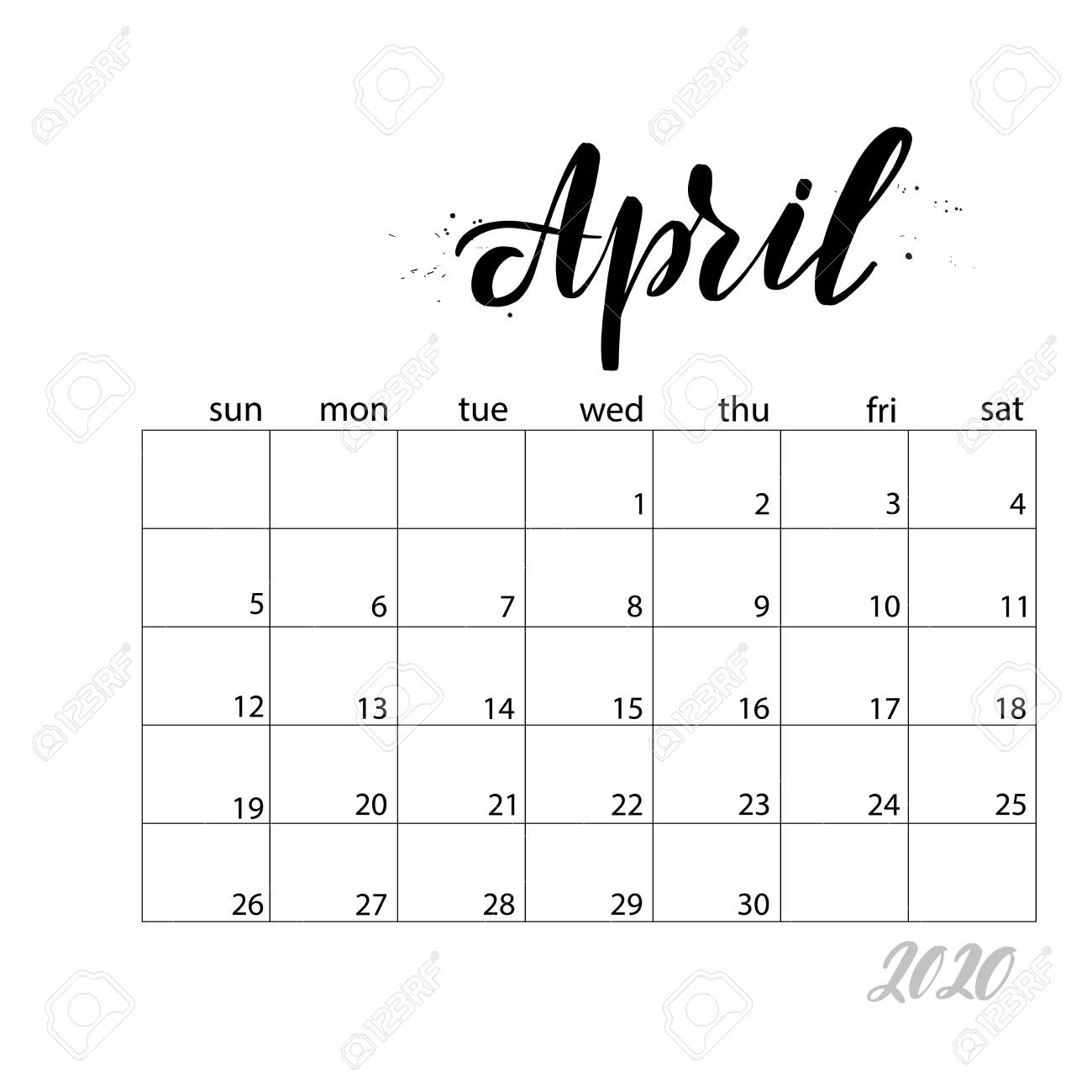 April. Monthly Calendar For 2020 Year. Handwritten Modern Calligraphy..