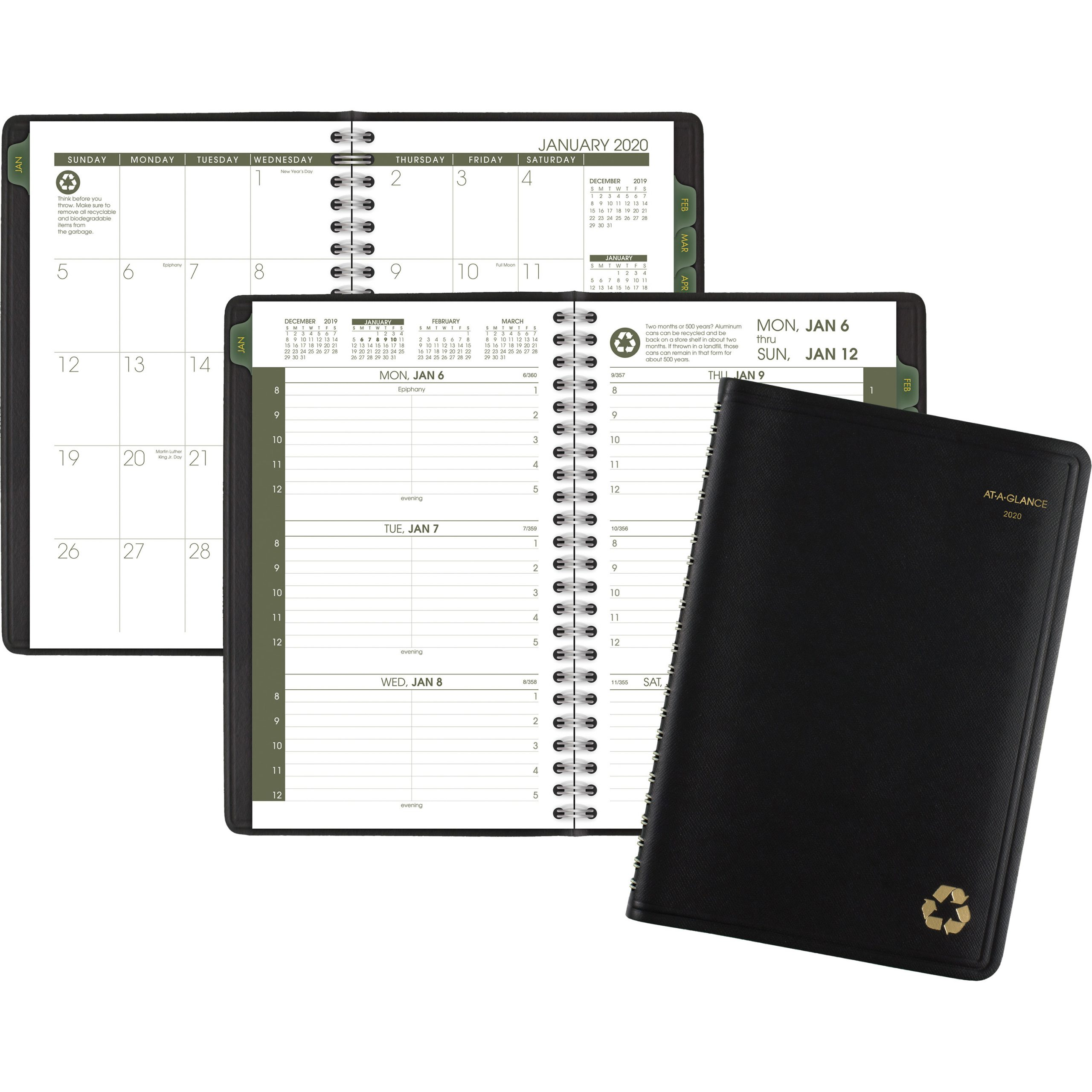 At-A-Glance 100% Recycled Weekly/monthly Appointment Book - Yes - Weekly -  January 2020 Till December 2020 - 8:00 Am To 5:00 Pm - 1 Week Double Page