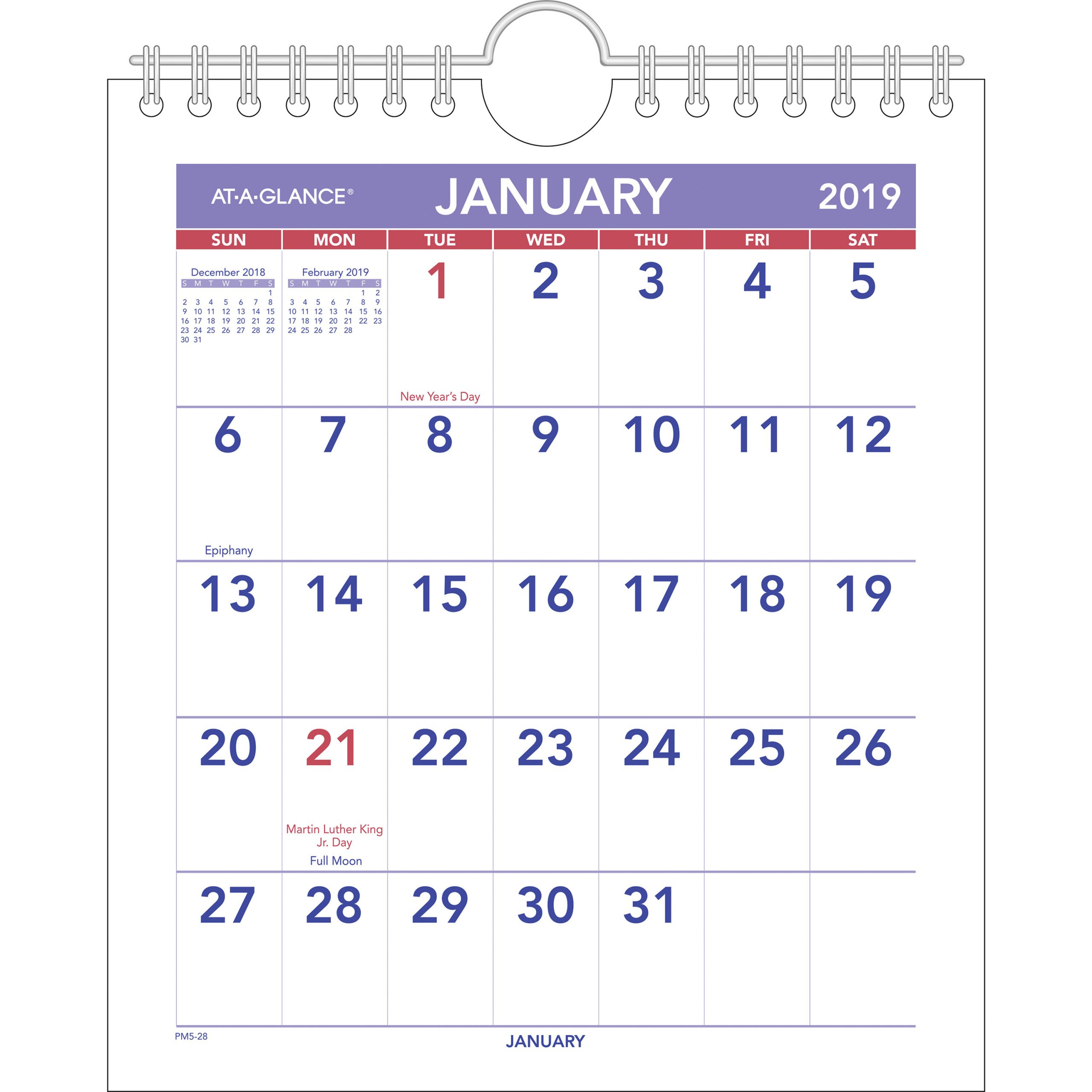 "At-A-Glance Mini Wall/desk Monthly Calendar - Yes - Monthly - 1 Year -  January 2020 Till December 2020 - 1 Month Single Page Layout - 6 1/2"" X 7  1/2"""