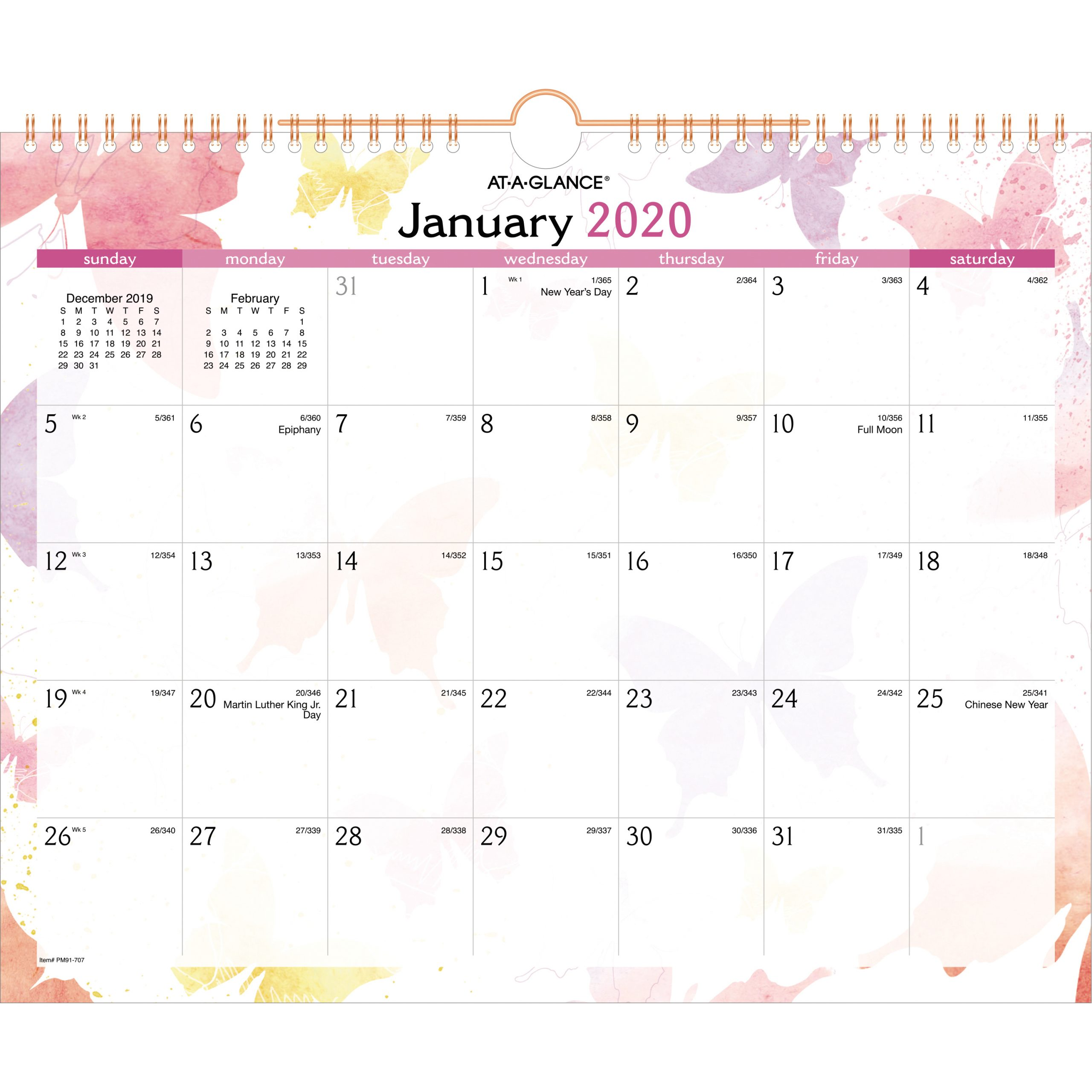 "At-A-Glance Watercolors Monthly Wall Calendar - Yes - Monthly - 1 Year -  January 2020 Till December 2020 - 1 Month Single Page Layout - 15"" X 12"" -"