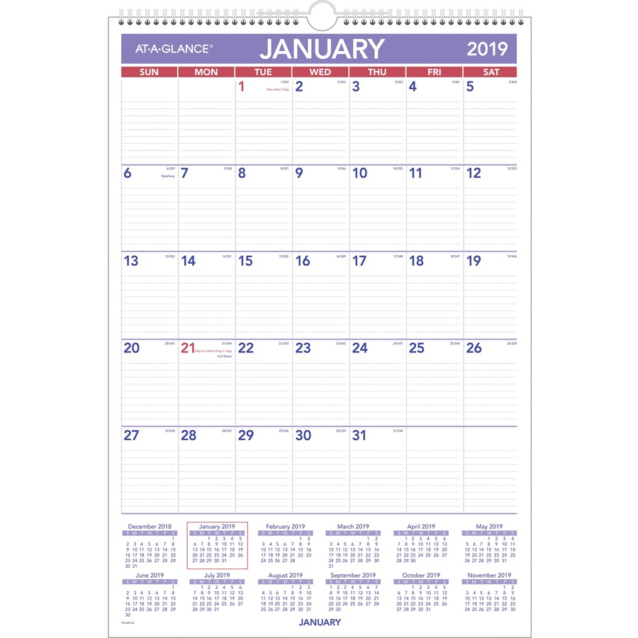 At-A-Glance Write-On/wipe-Off Laminated Monthly Wall Calendar - Yes -  Monthly - 1 Year - January 2020 Till December 2020 - 1 Month Single Page  Layout