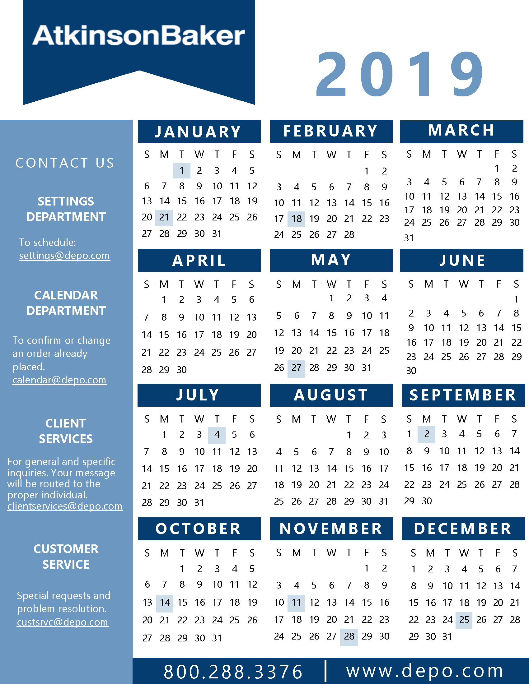 Atkinson-Baker | Calendar And State Holidays