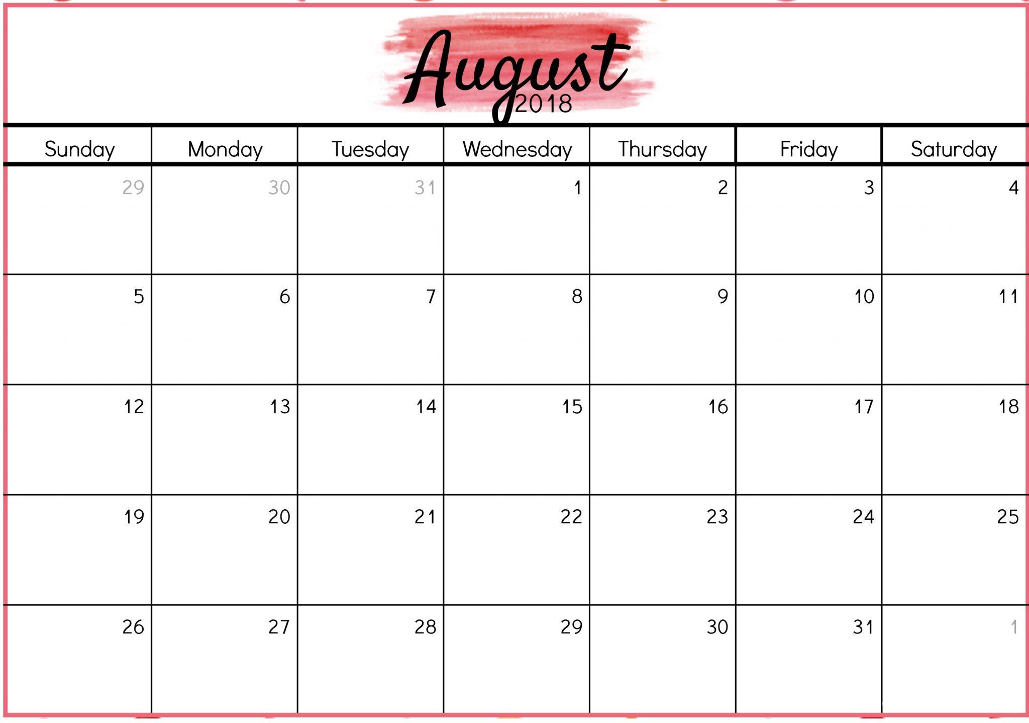 August 2018 Waterproof Calendar