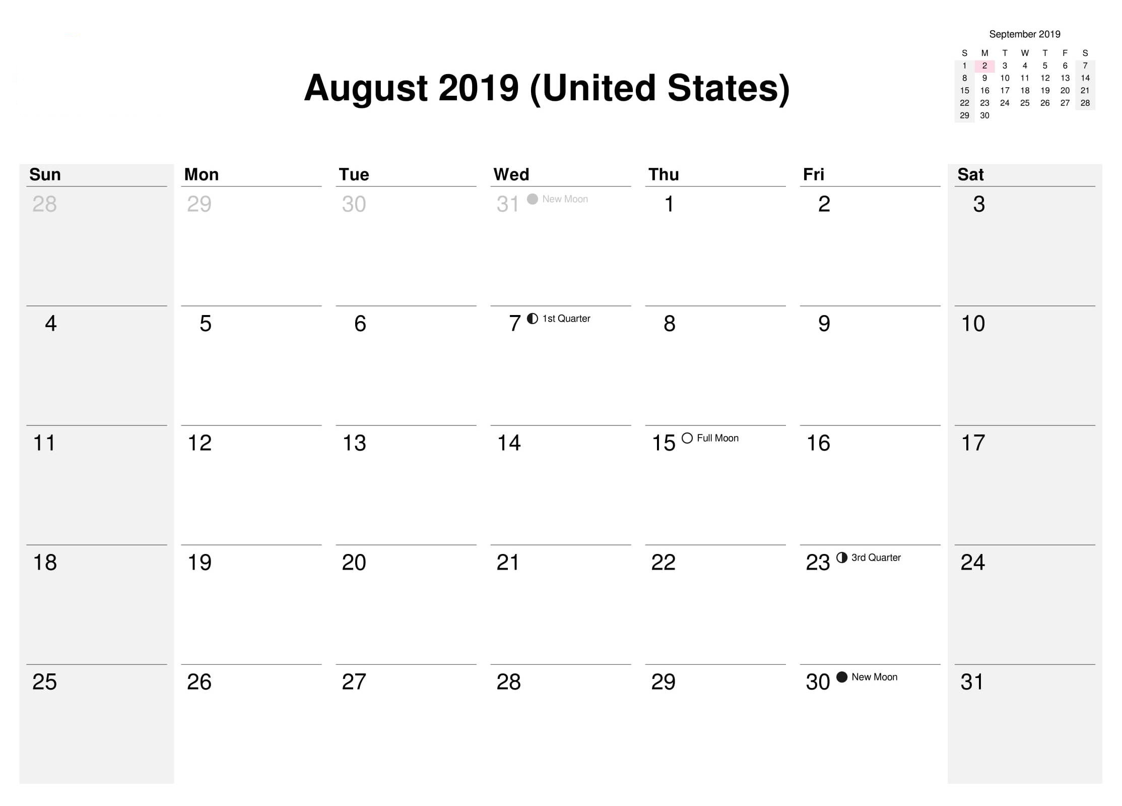 August 2019 Calendar With Holidays Usa Uk Canada India Australia