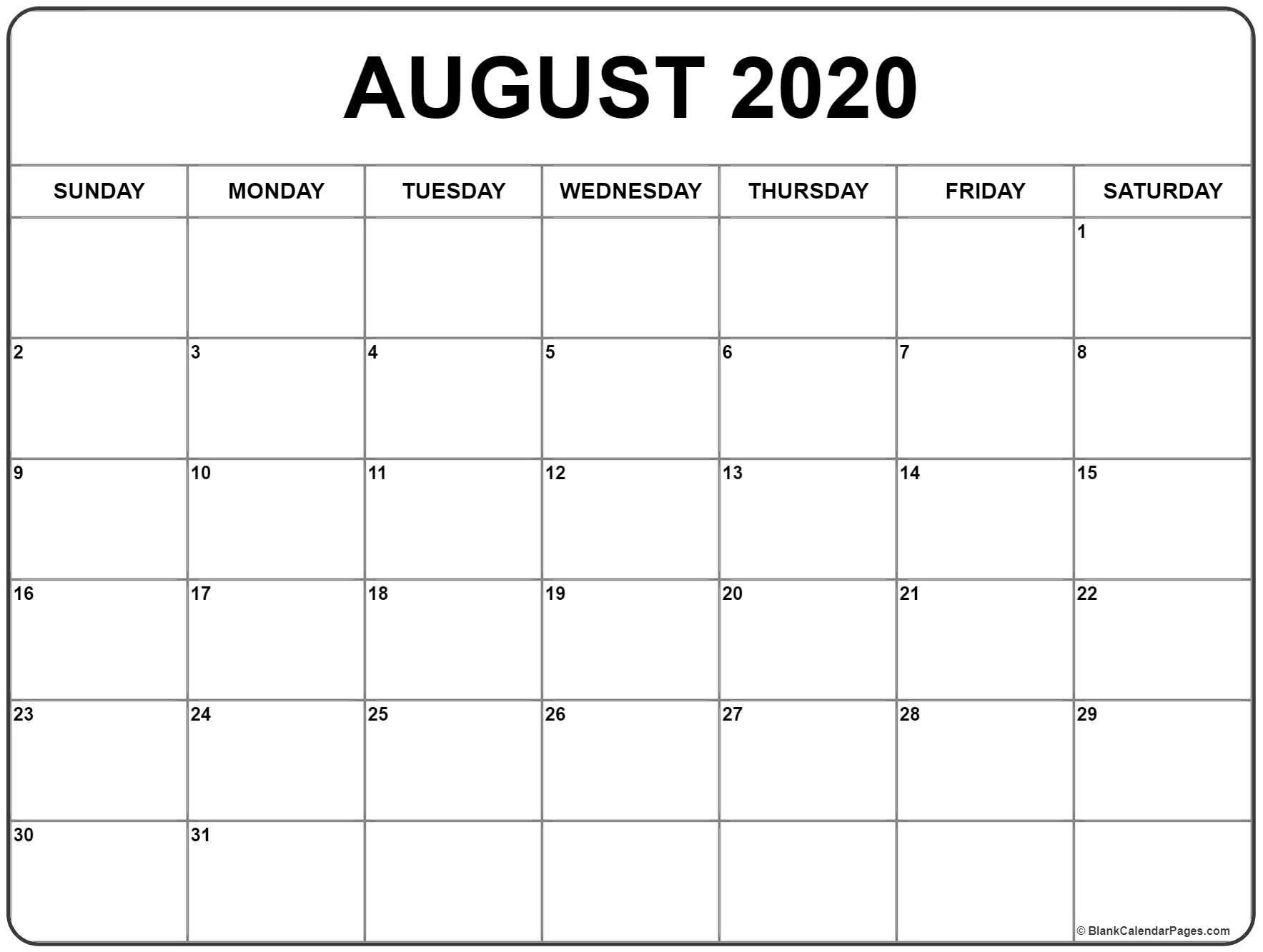 August 2020 Calendar . August 2020 Calendar Printableaugust