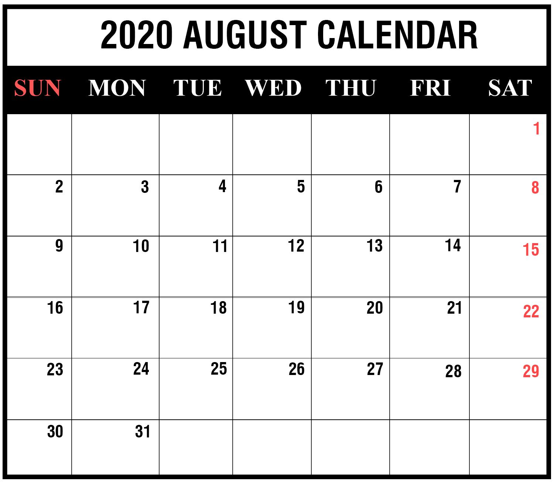 August 2020 Calendar Printable - Ko-Fi ❤️ Where Creators