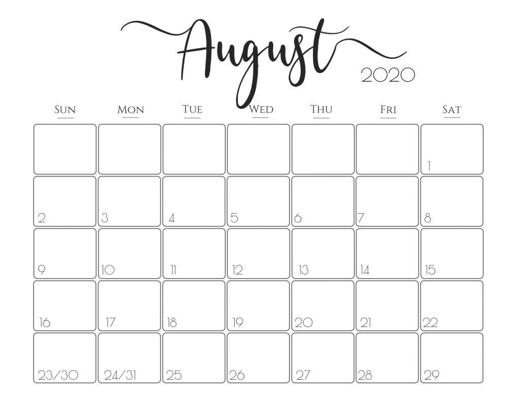 August 2020 Calendar Printable Template Free | Printable