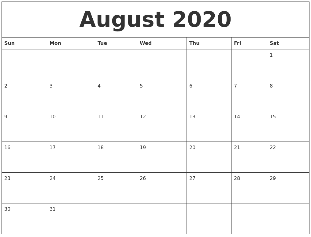 August 2020 Print Monthly Calendar