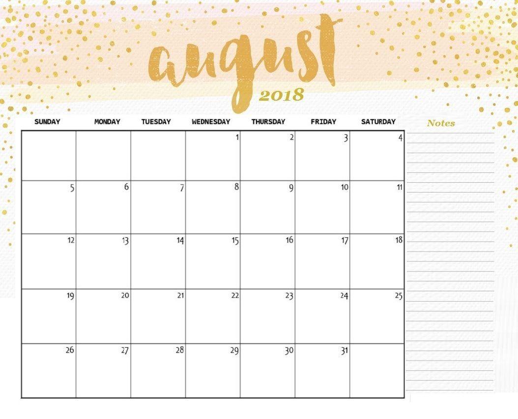 August Calendar 2018 Template Cute Format | 2018 Printable