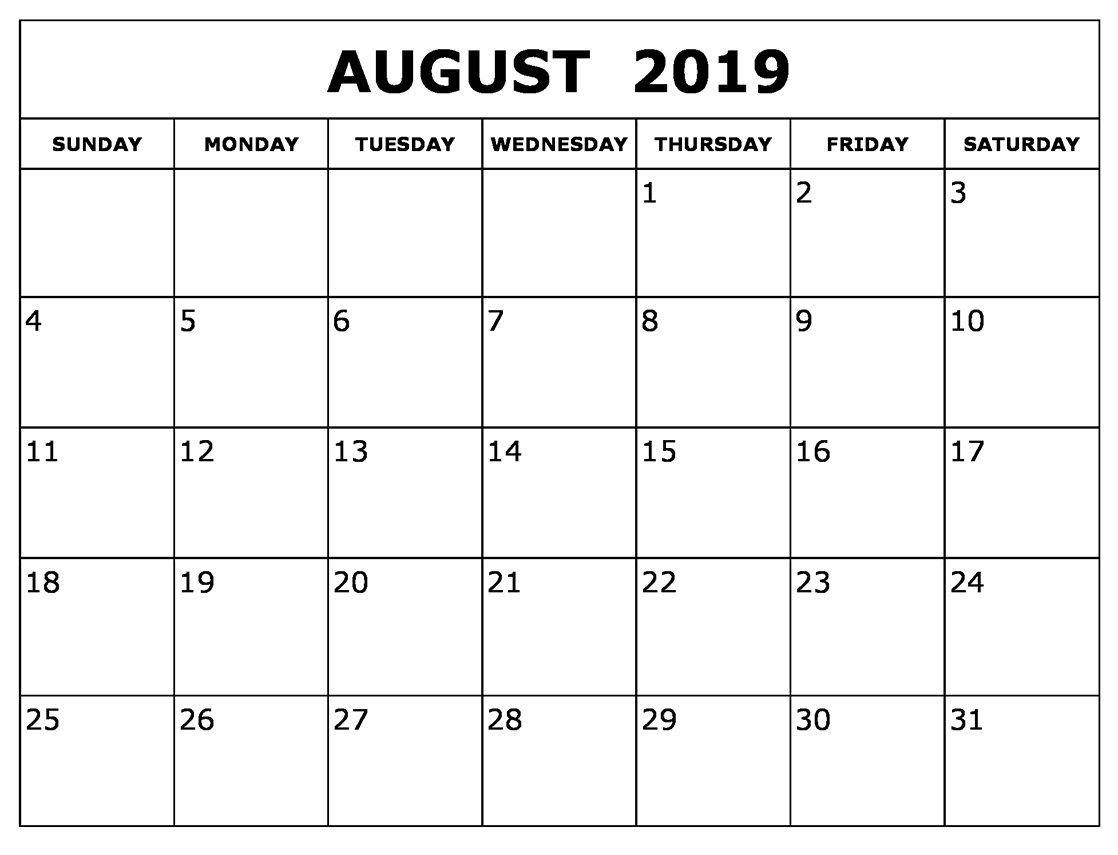 August Calendar 2019 Waterproof | Printable Blank Calendar