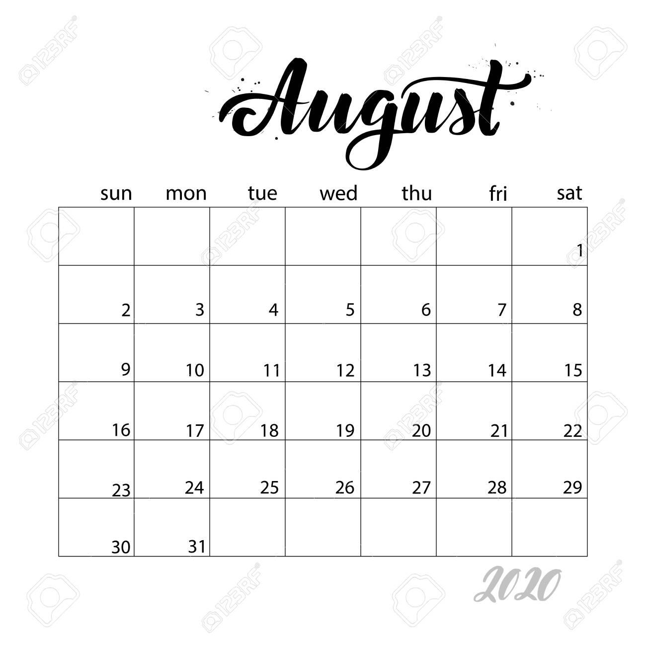 August. Monthly Calendar For 2020 Year. Handwritten Modern Calligraphy..