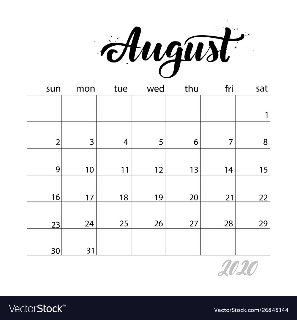 August Monthly Calendar For 2020 Year
