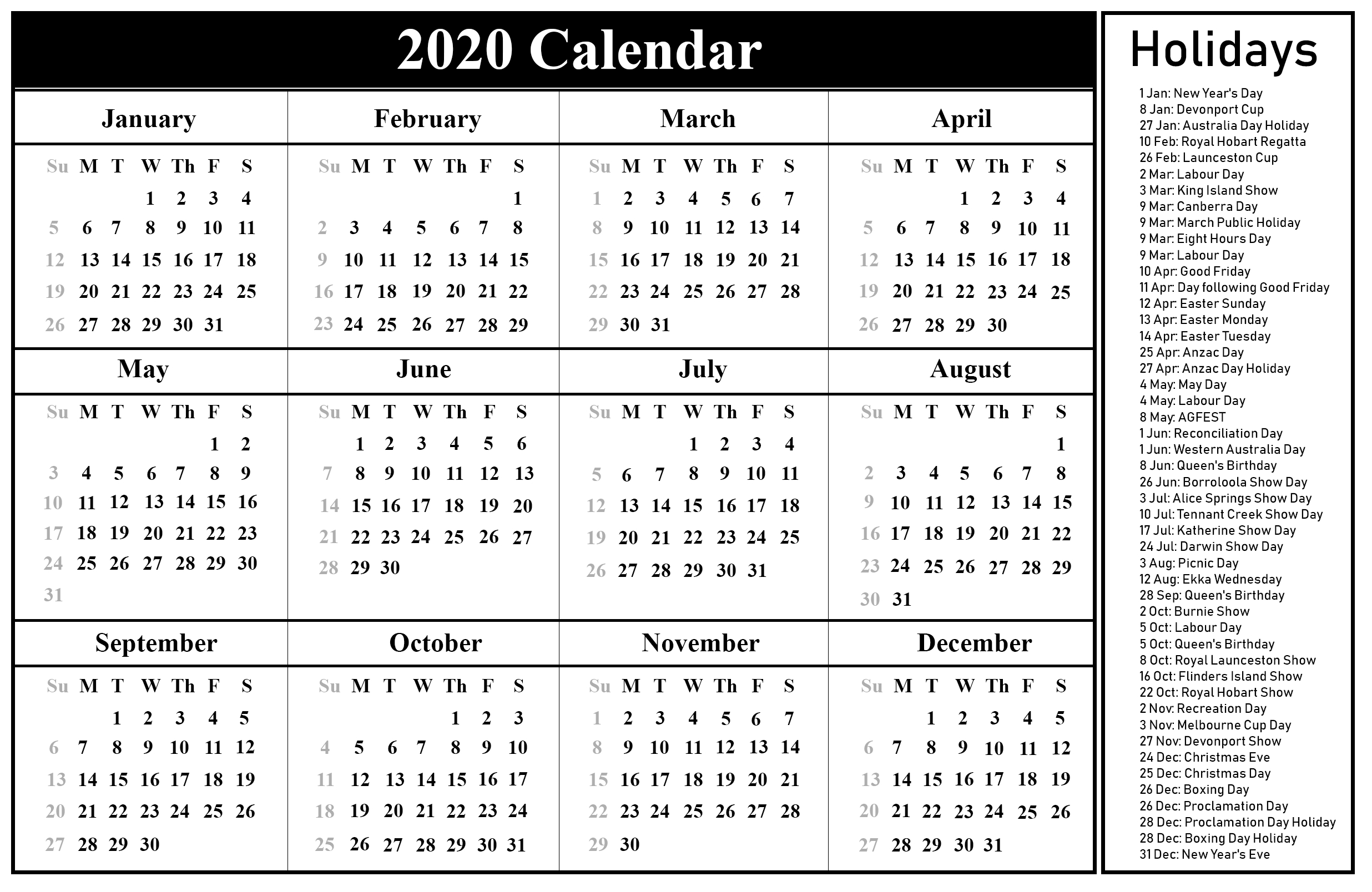 Australia 2020 Calendar With Holiday | Printable March