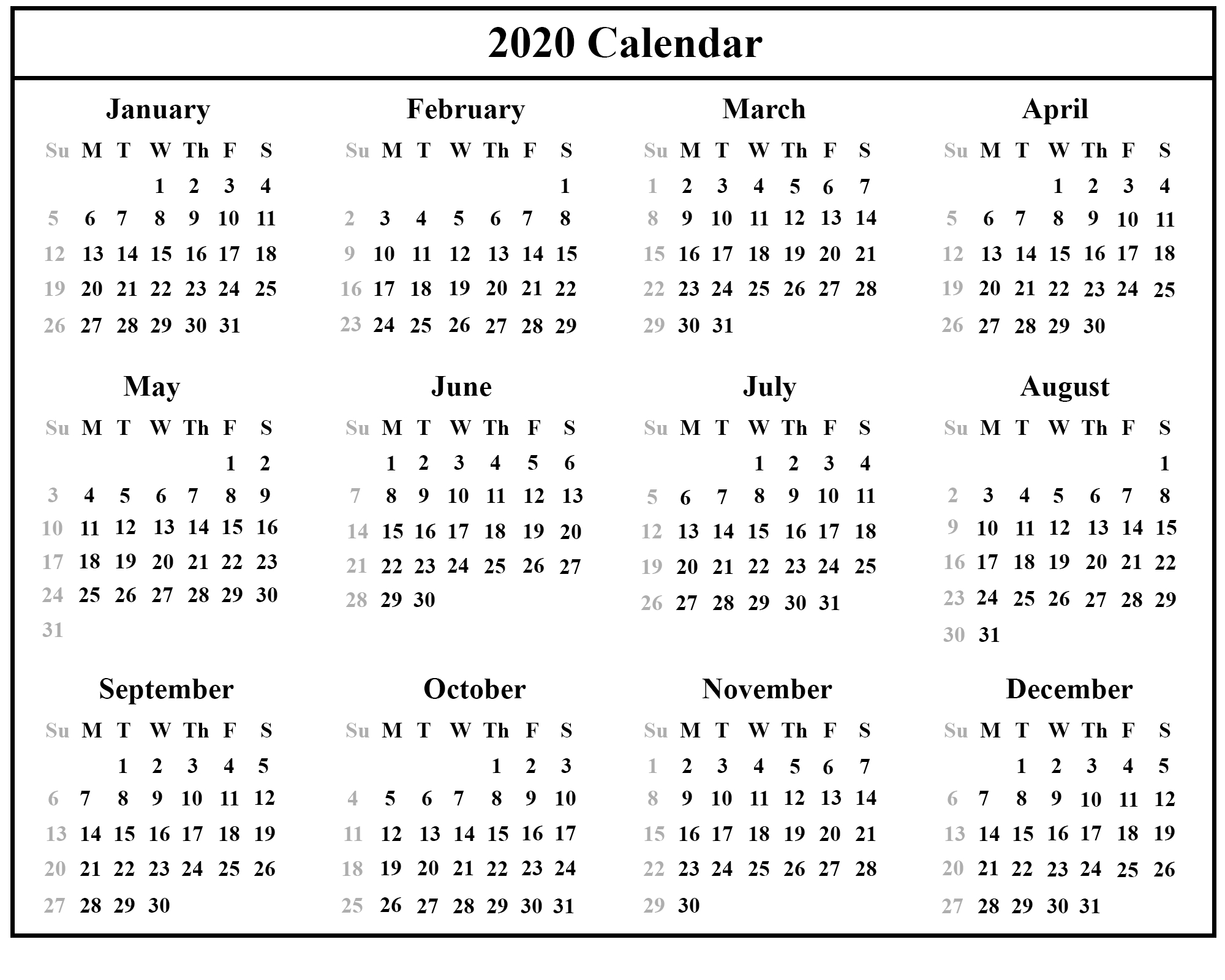 Australia 2020 Printable Calendar Template | Printable
